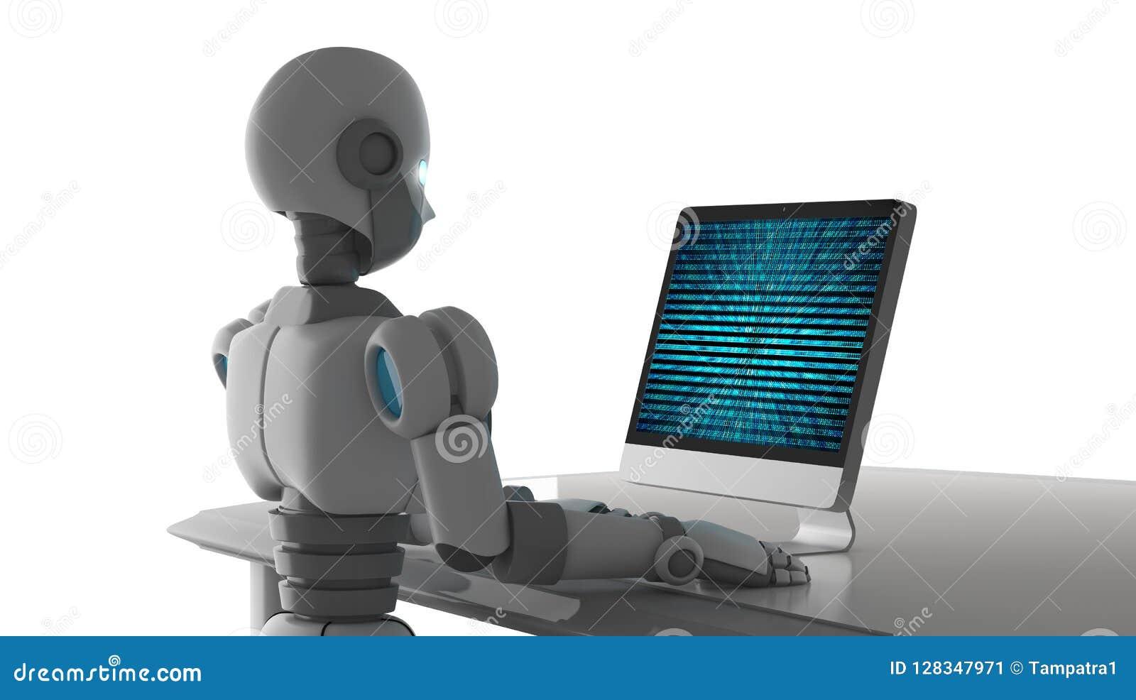 Zijaanzicht van robot die een computer met de binaire code van het gegevensaantal met behulp van
