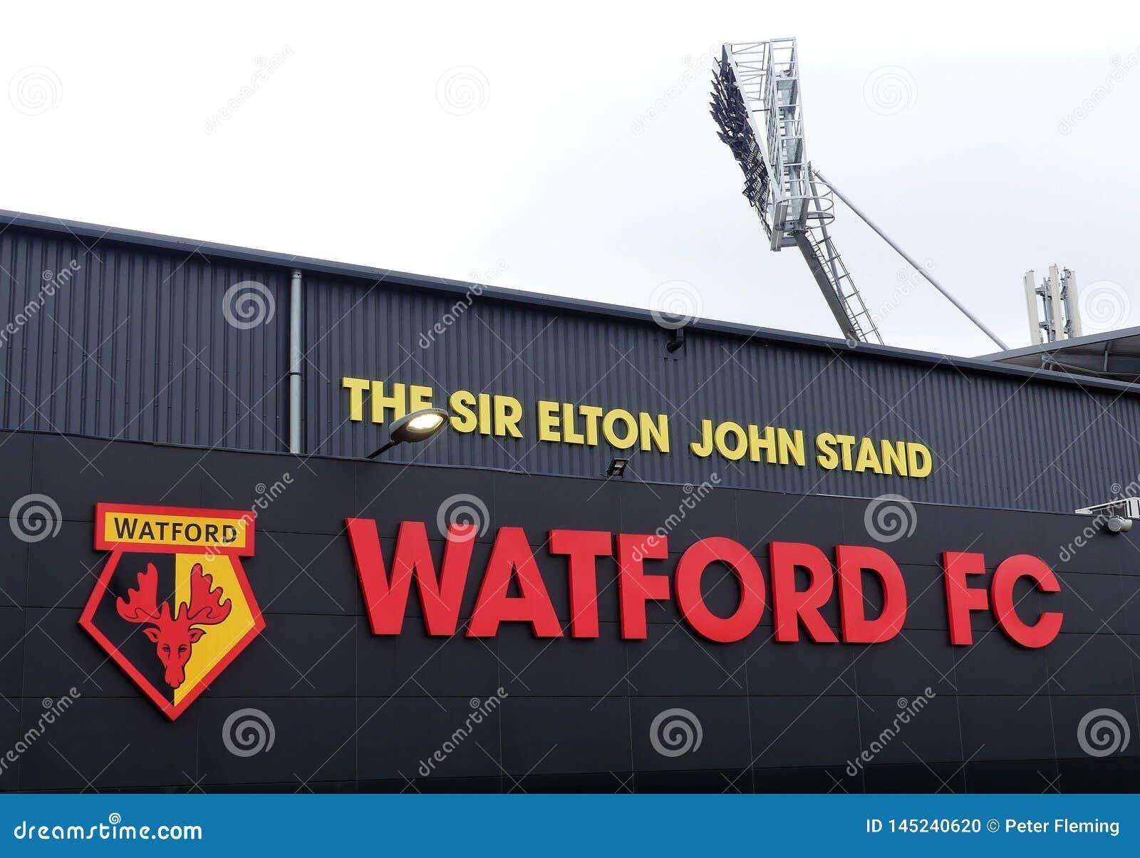 Zijgevel van Sir Elton John Stand, Watford-het stadion van de Voetbalclub, Beroepsweg, Watford