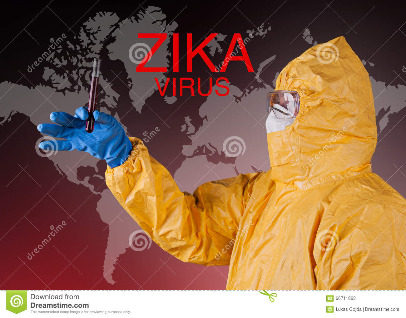 Zika virus, medical worker in protective clothes.