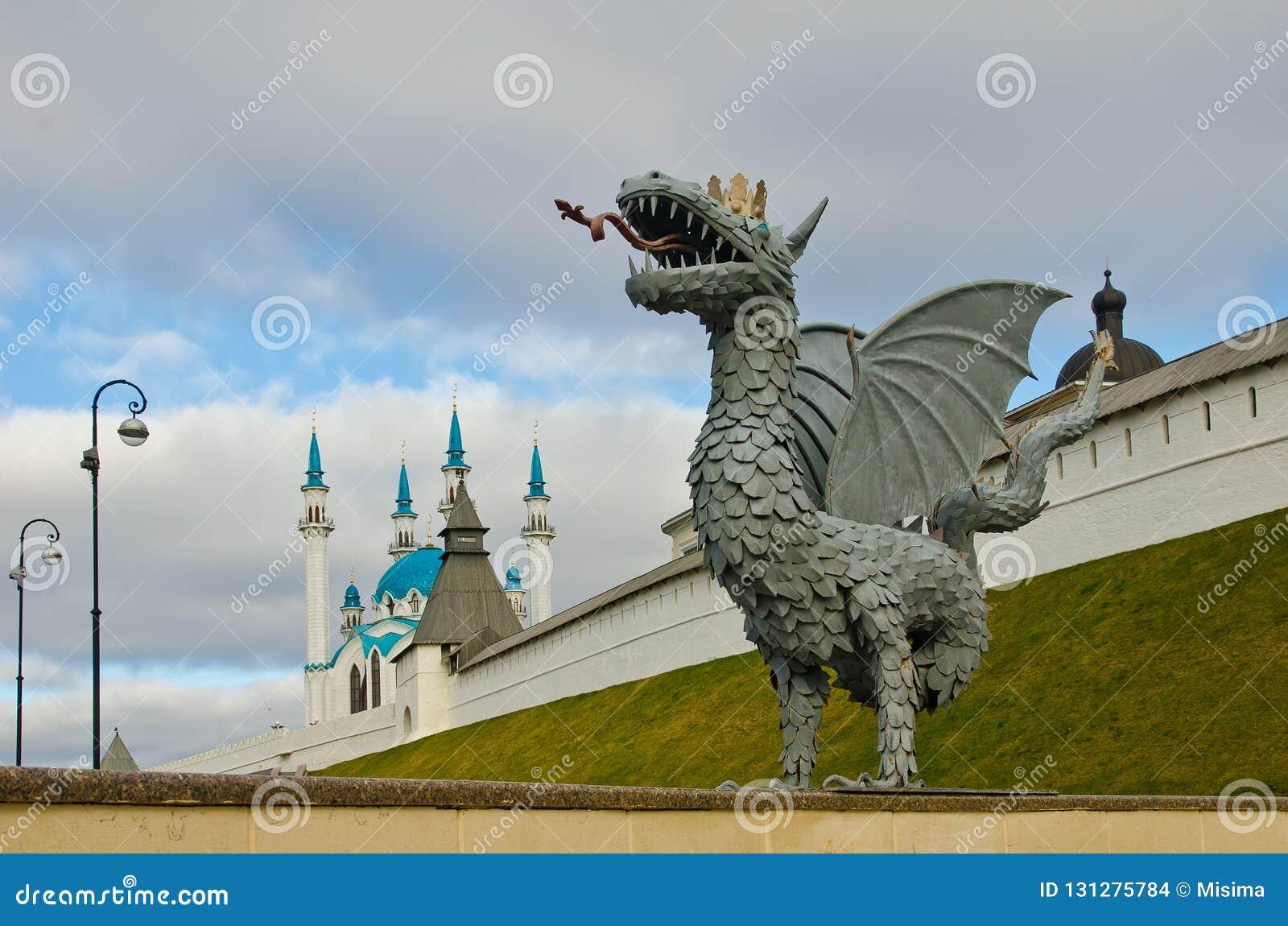 Zilant is the symbol of Kazan near the Kul Sharif Mosque