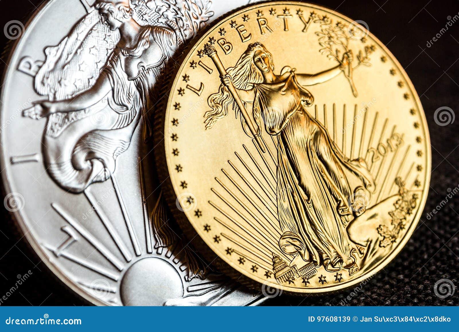 Zilveren adelaar en gouden Amerikaanse adelaar één onsmuntstukken