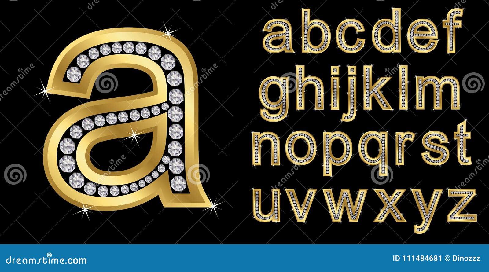 Zilveren alfabet met diamanten, brieven van A aan Z