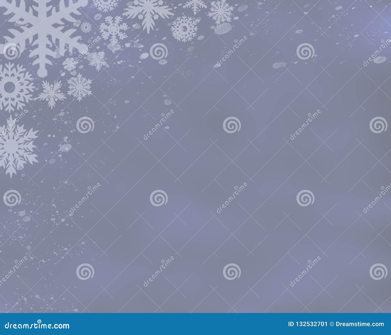 Zilveren Blauwe Achtergrond met Sneeuwvlokken