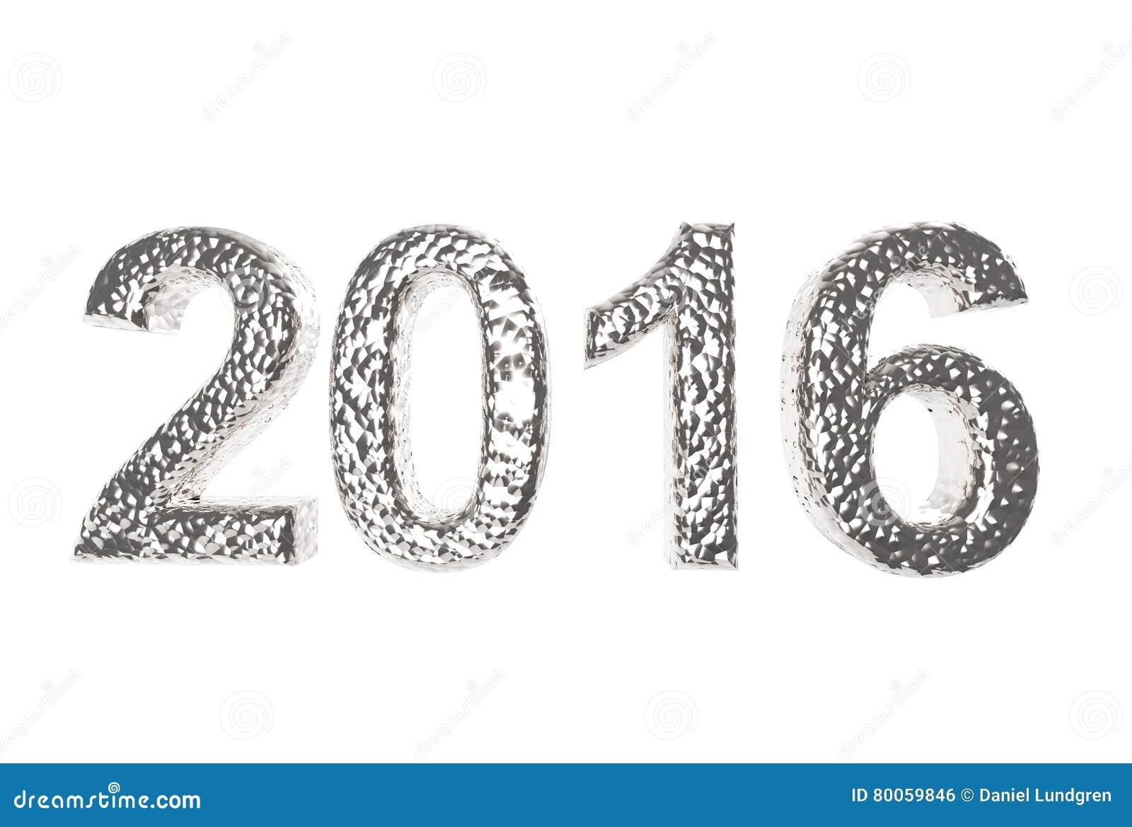 2016 in Zilveren Deklaag op een witte achtergrond