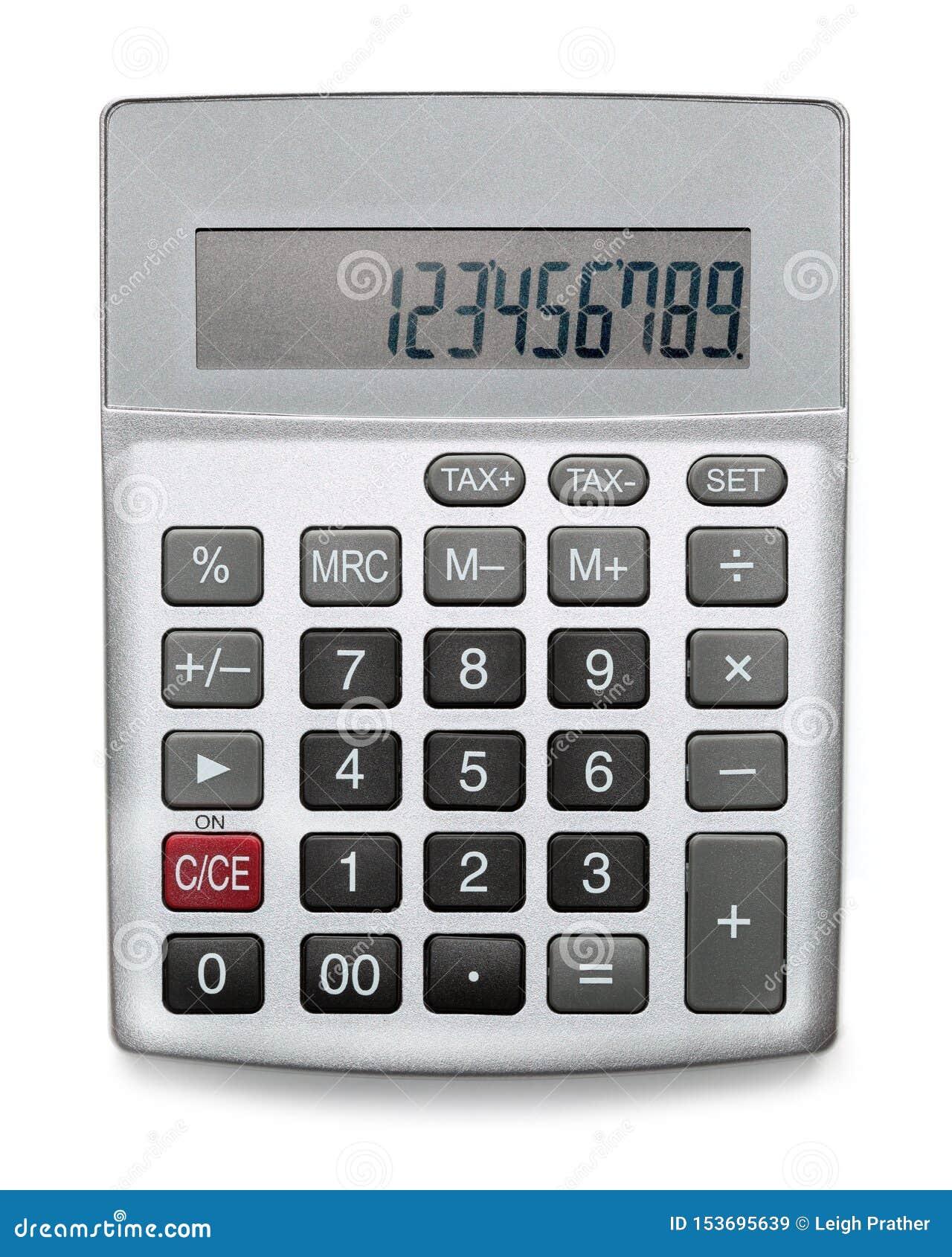 Zilveren die calculator op wit wordt geïsoleerd