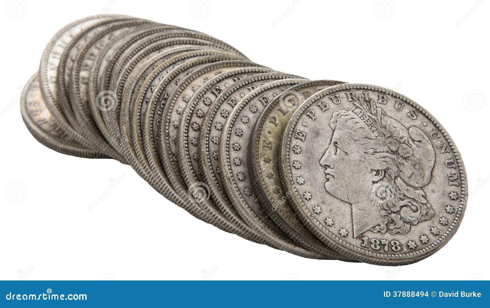 Zilveren dollars 1878 van Morgan grungy broodje geïsoleerd wit