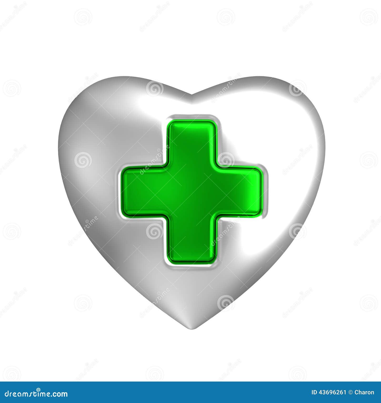 Zilveren hart met medisch groen dwarsteken