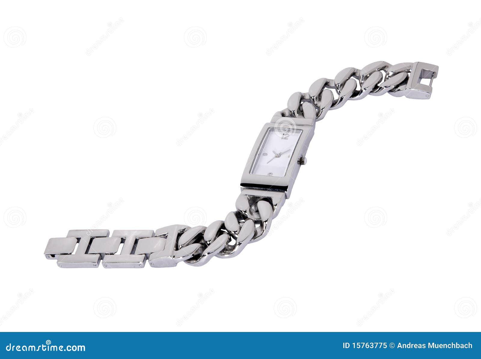 Zilveren horloge met bersarmband die in de studio voor witte ...: nl.dreamstime.com/royalty-vrije-stock-foto-zilveren-horloge...