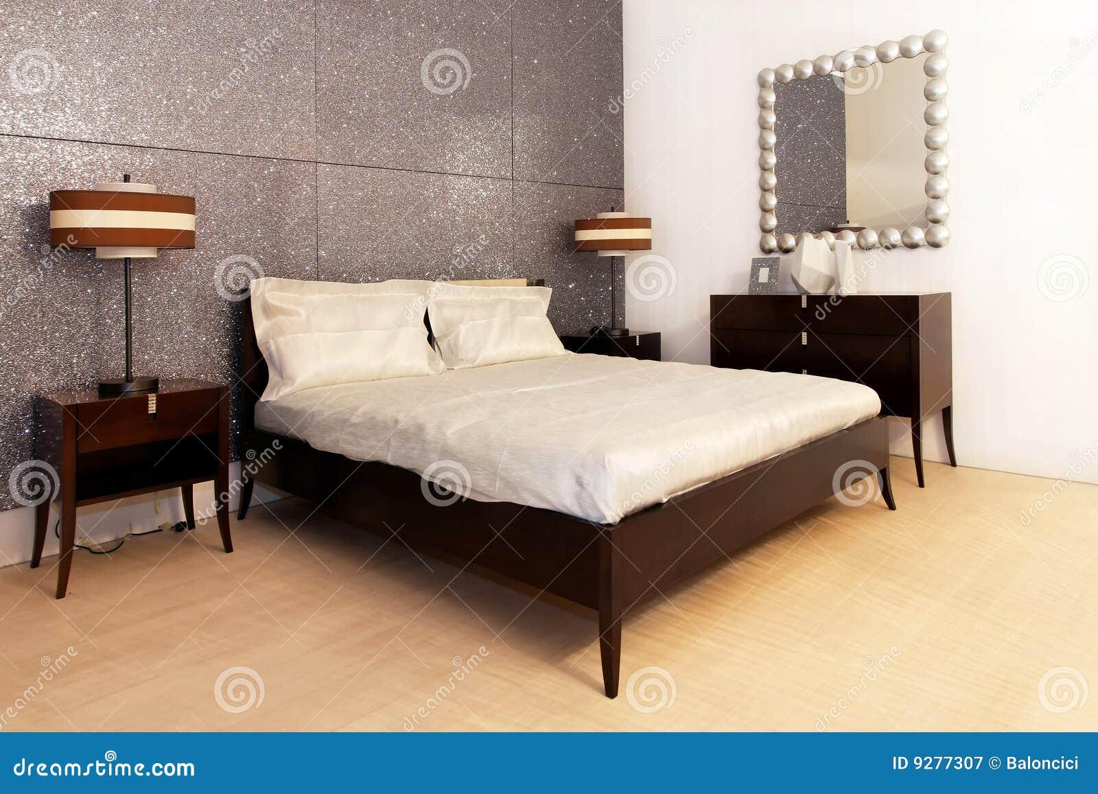 Zilveren Slaapkamer Royalty-vrije Stock Fotografie - Afbeelding ...