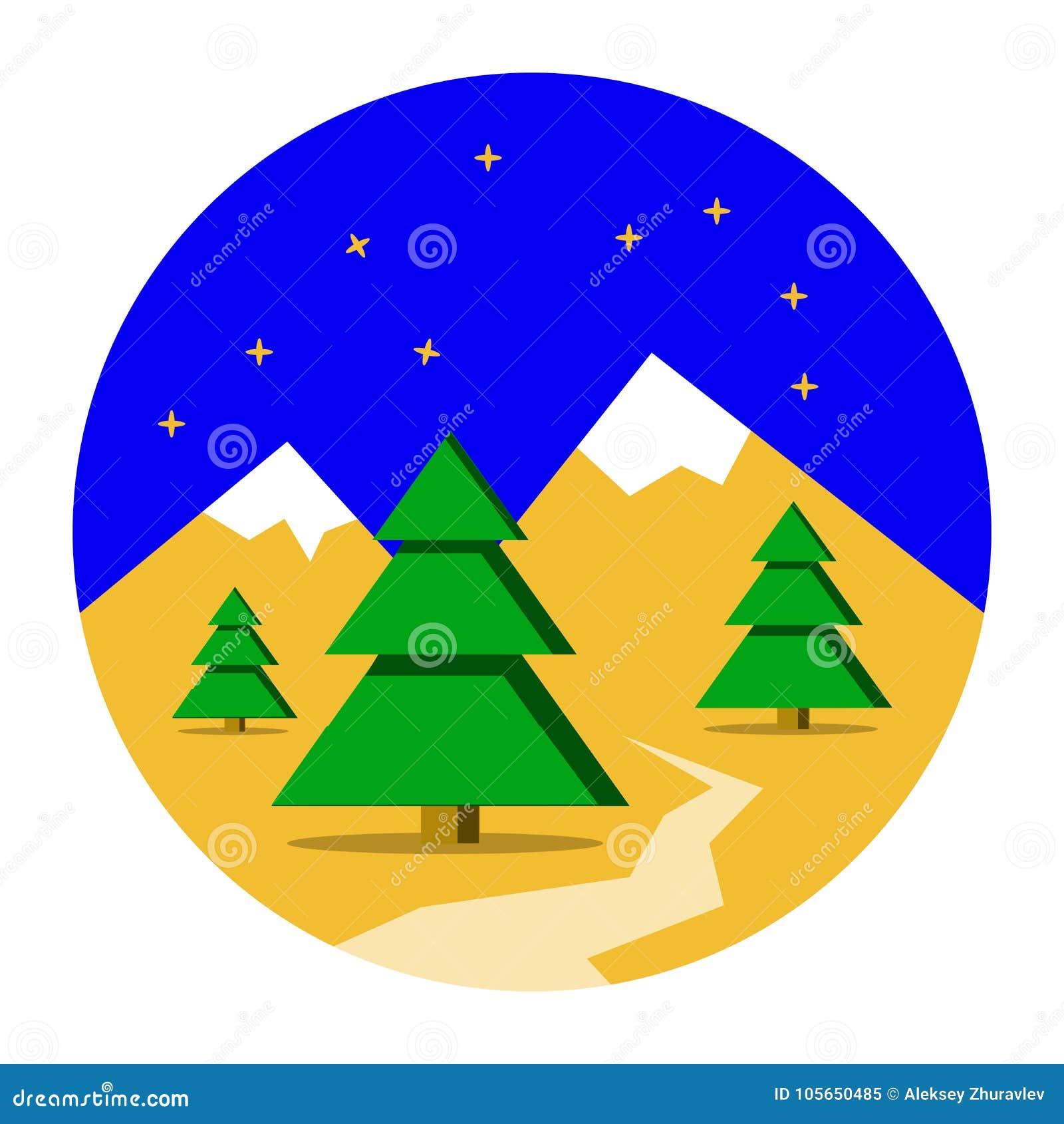 Zim gór krajobraz z sosnowym lasowym Bożenarodzeniowym tłem Płaski projekt, wektorowa ilustracja