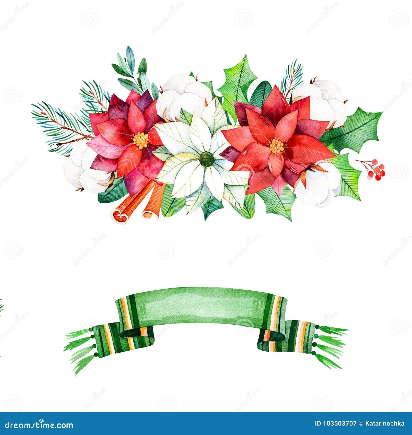 Zima bukiety z liśćmi, gałąź, bawełniani kwiaty, jagody