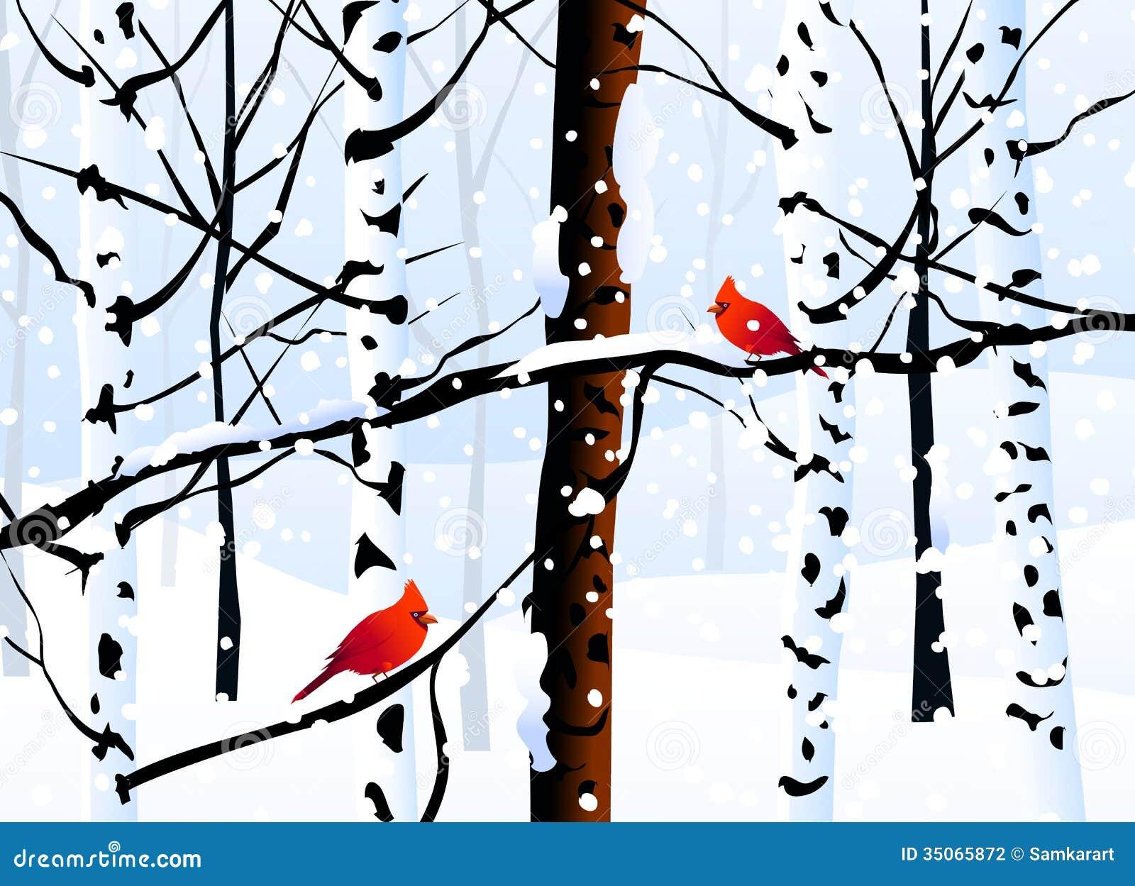 Zima krajobraz - wektor (las)