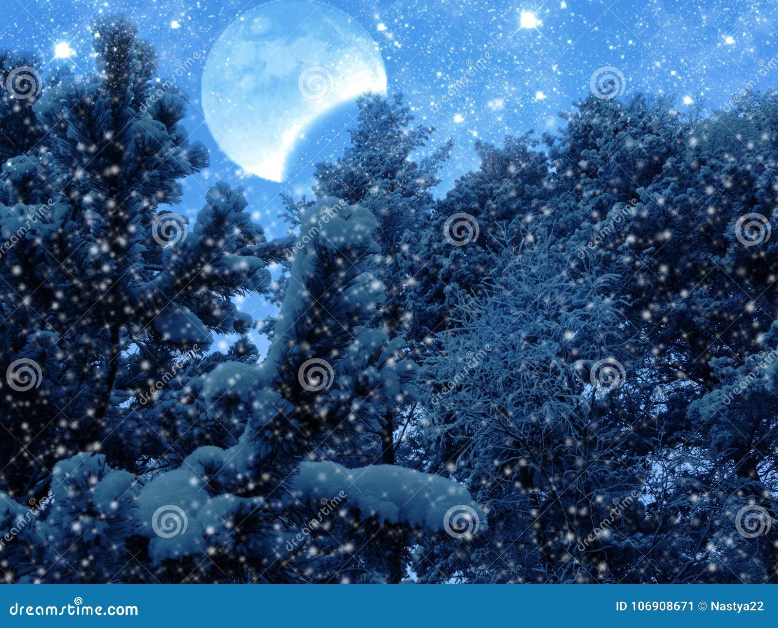Zima krajobrazowy las w śniegu mrozie z księżyc i gwiazdami