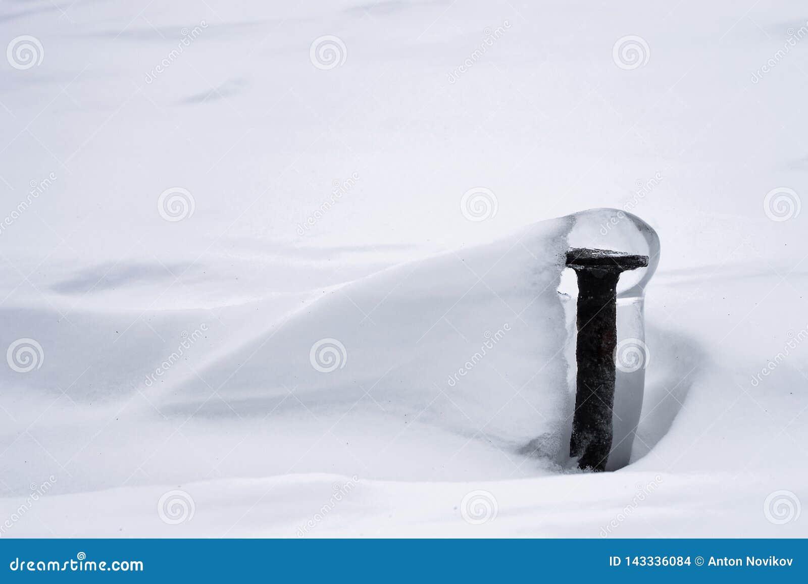Zima minimalizm z zamarzniętą śrubą