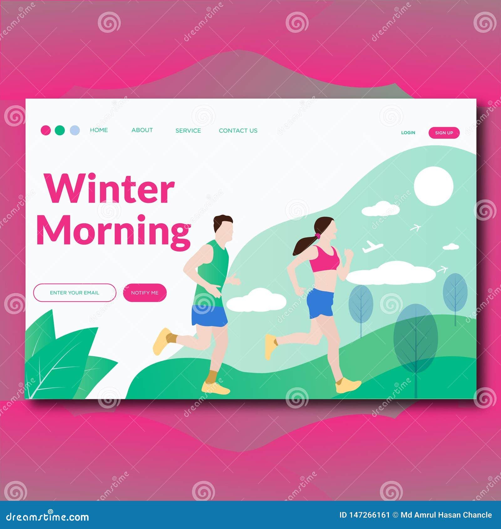 Zima ranku lądowania Płaska nowożytna Wektorowa ilustracyjna strona