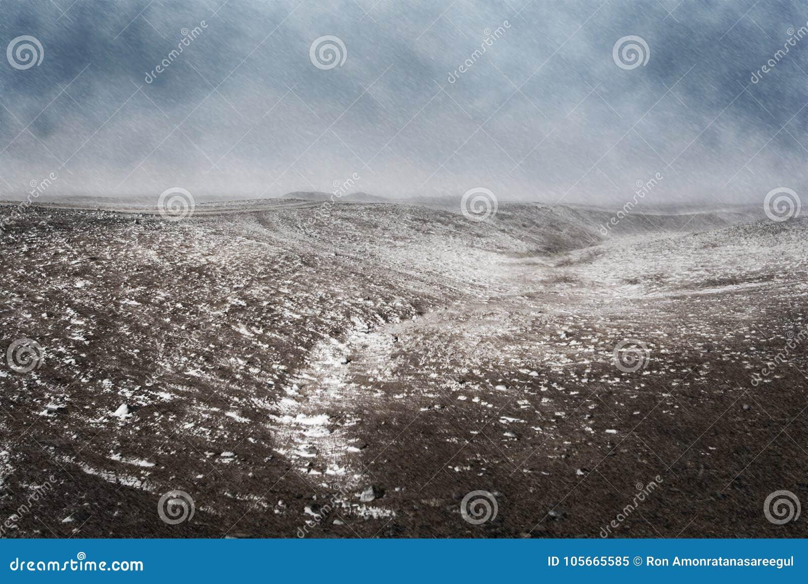 Zima, sceneria śnieżyca uderza łąki