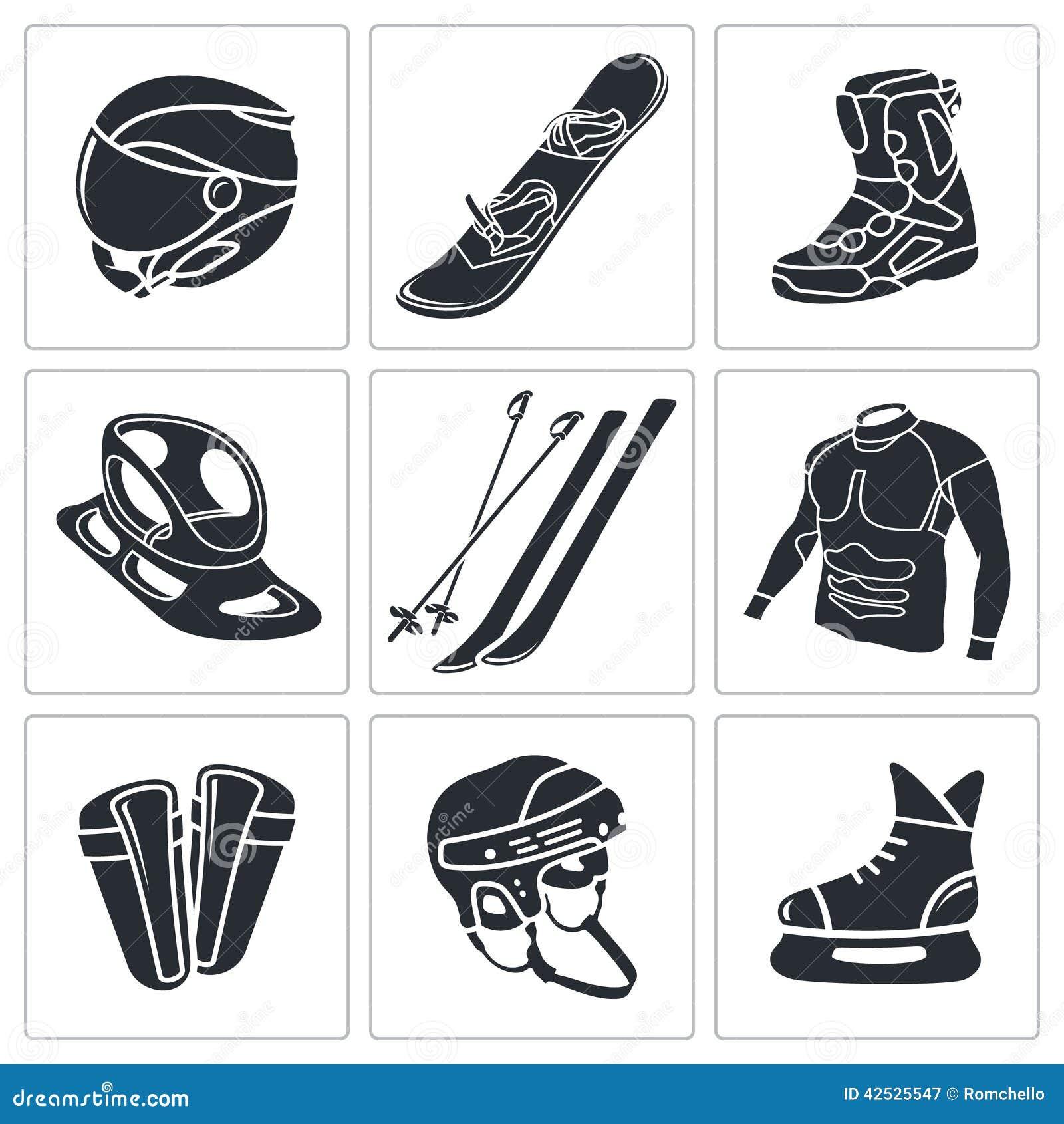 Zima sportów ikony set