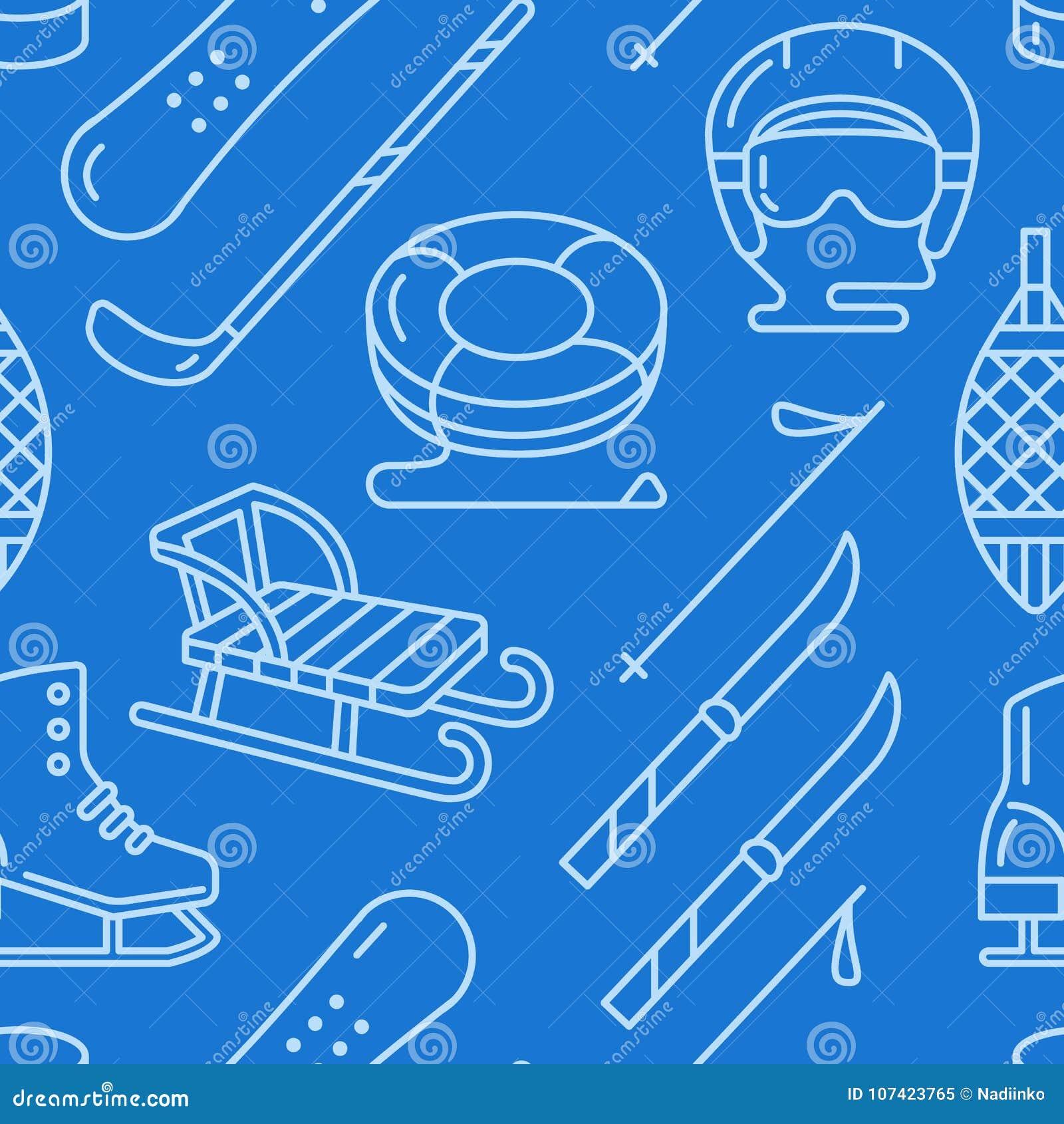 Zima sportów zmrok - błękitny bezszwowy wzór, wyposażenie wynajem przy ośrodkiem narciarskim Wektorowe mieszkanie linii ikony - ł