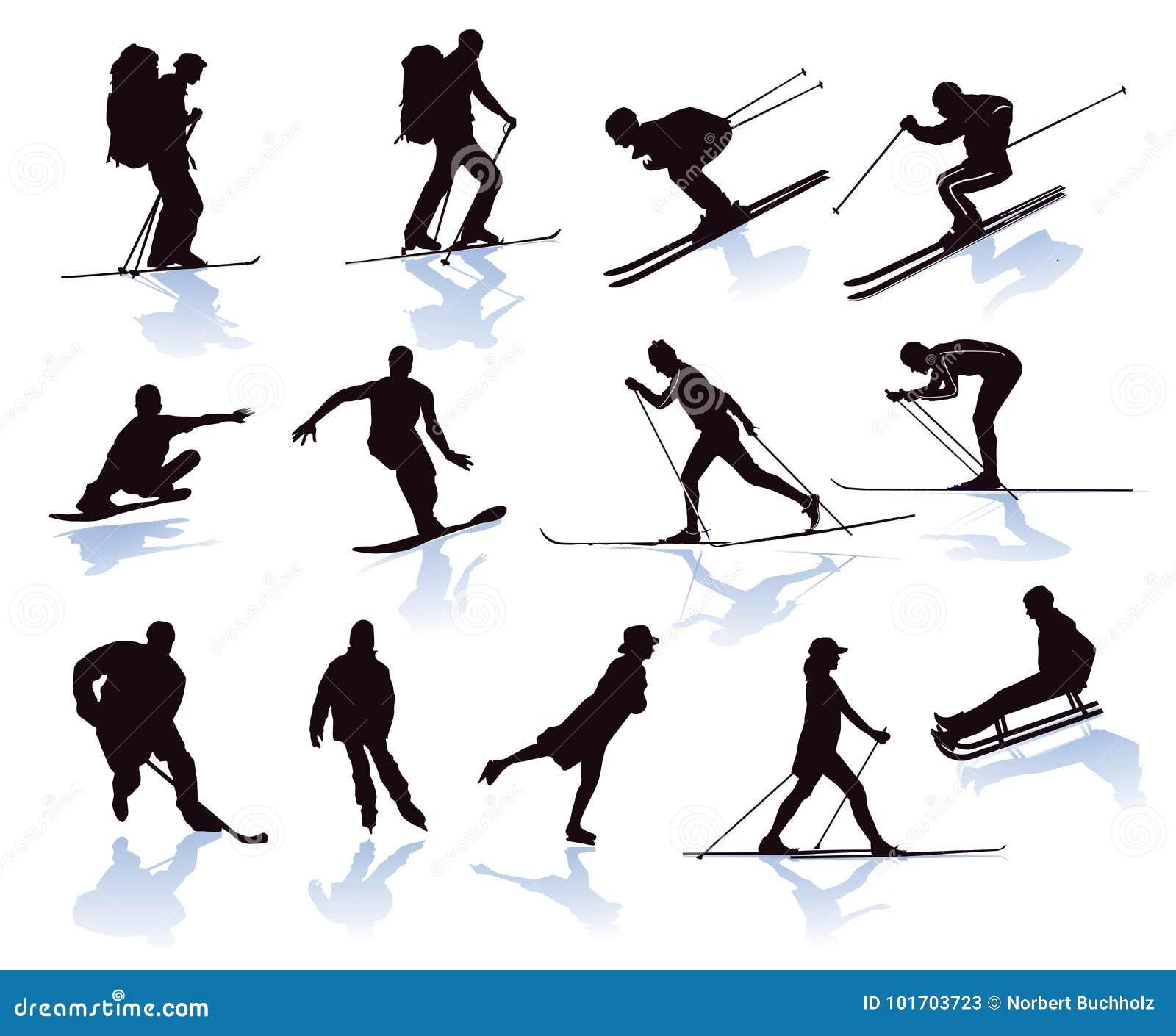 Zima sporty ilustrujący