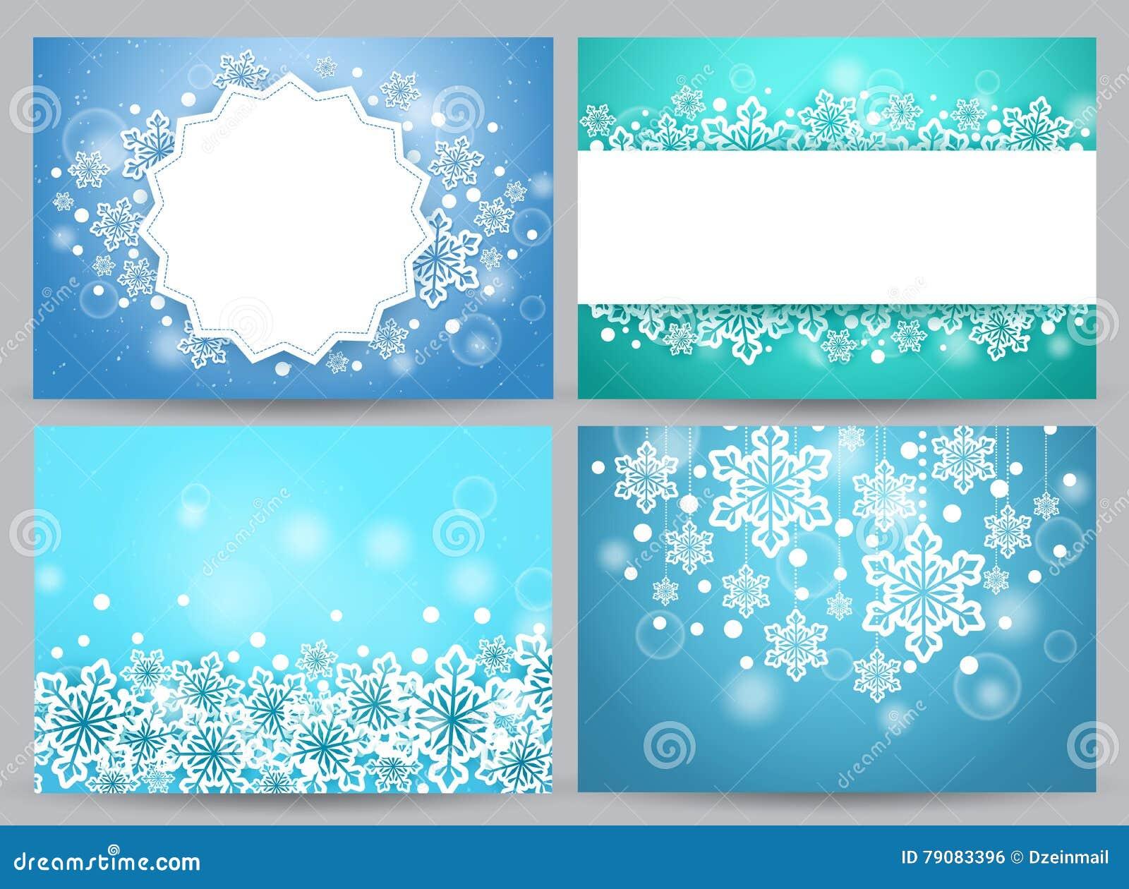 Zima sztandarów i tło wektorowy ustawiający z śnieżnymi płatkami