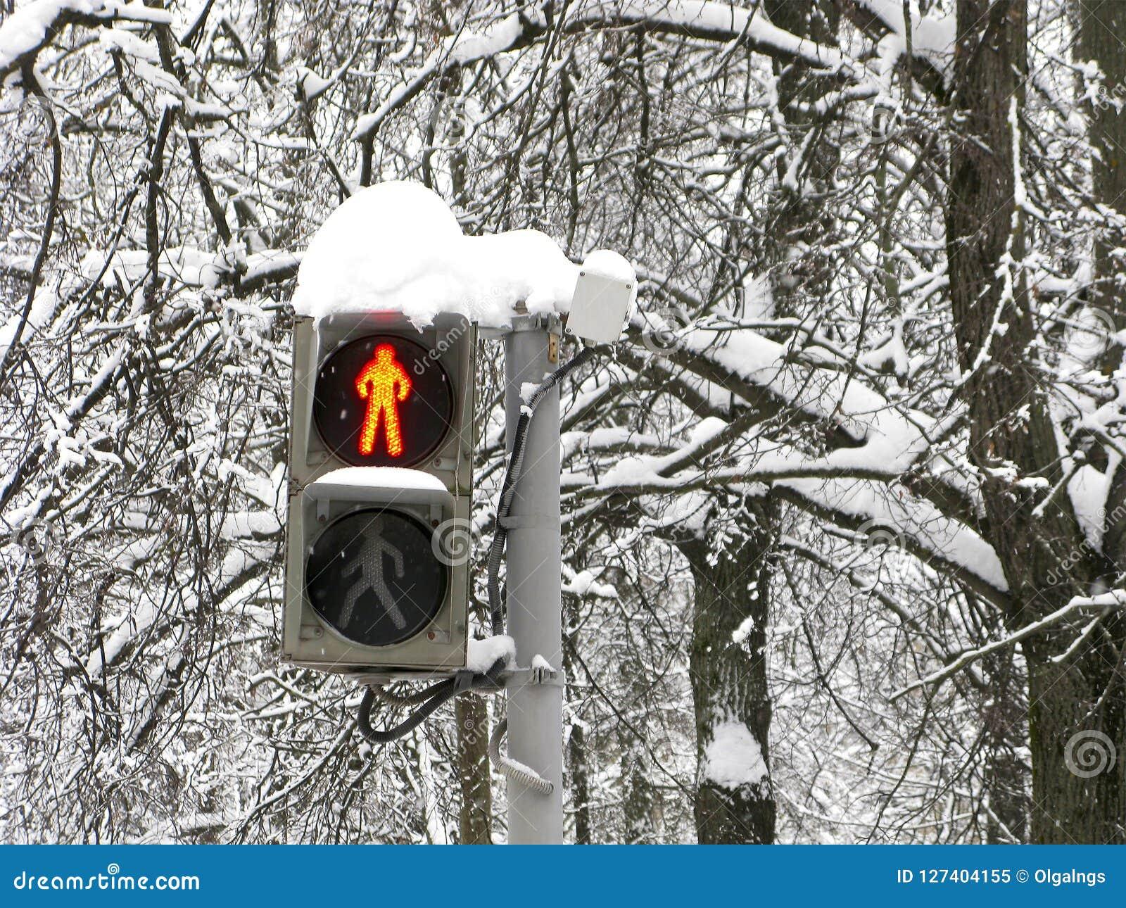Zima, ulica, światła ruchu dla pedestrians, czerwień, przerwa