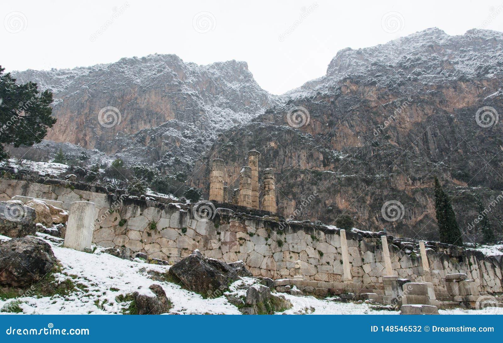 Zima widok Delphi g?ry