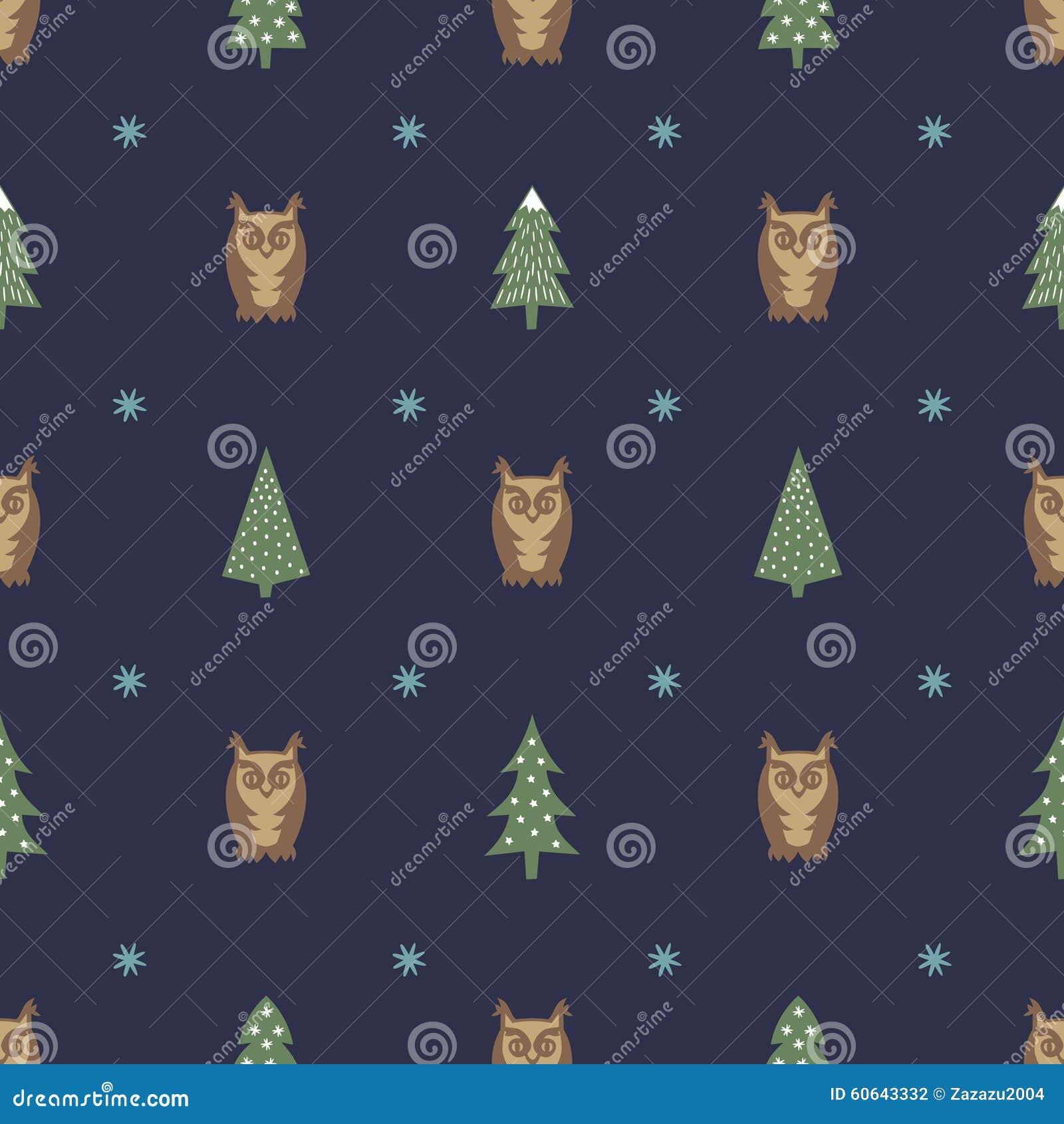 Zima wzór zróżnicowani Xmas drzewa, sowy i płatki śniegu -, Prosty bezszwowy Szczęśliwy nowego roku tło