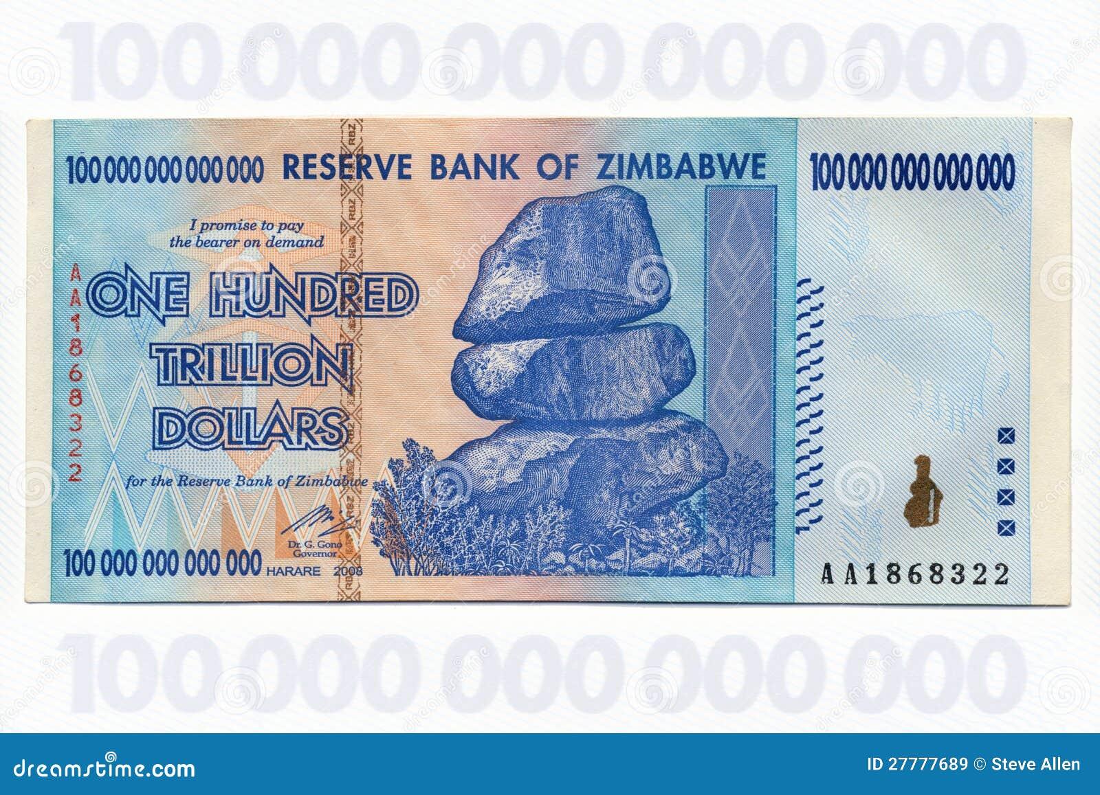 Zimbabwe - cem Trillion notas de banco do dólar