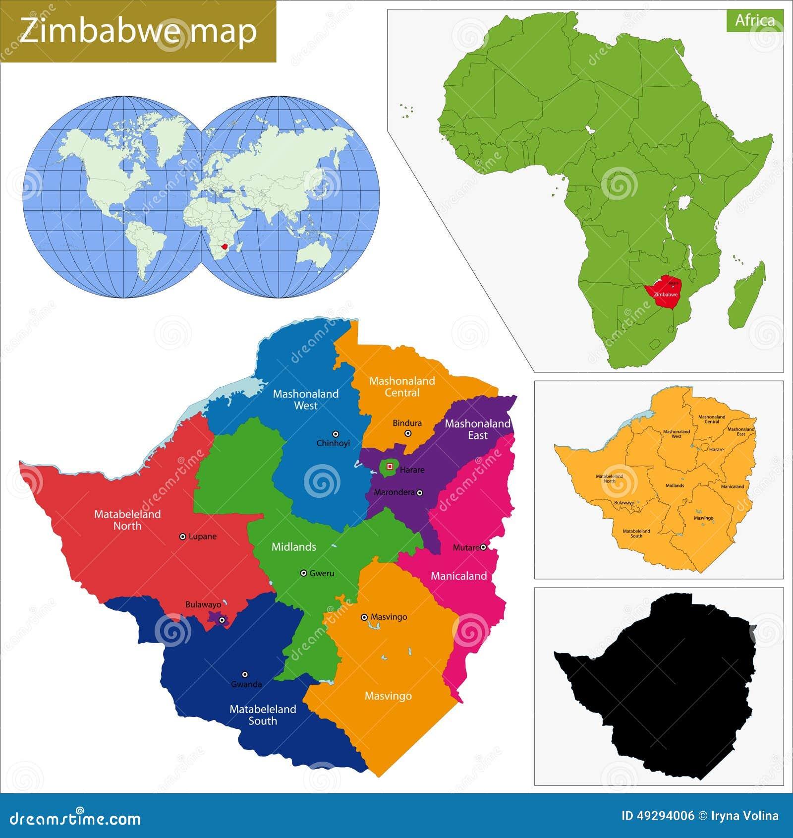 Zimbabwe Map Stock Vector Image - Zimbabwe map