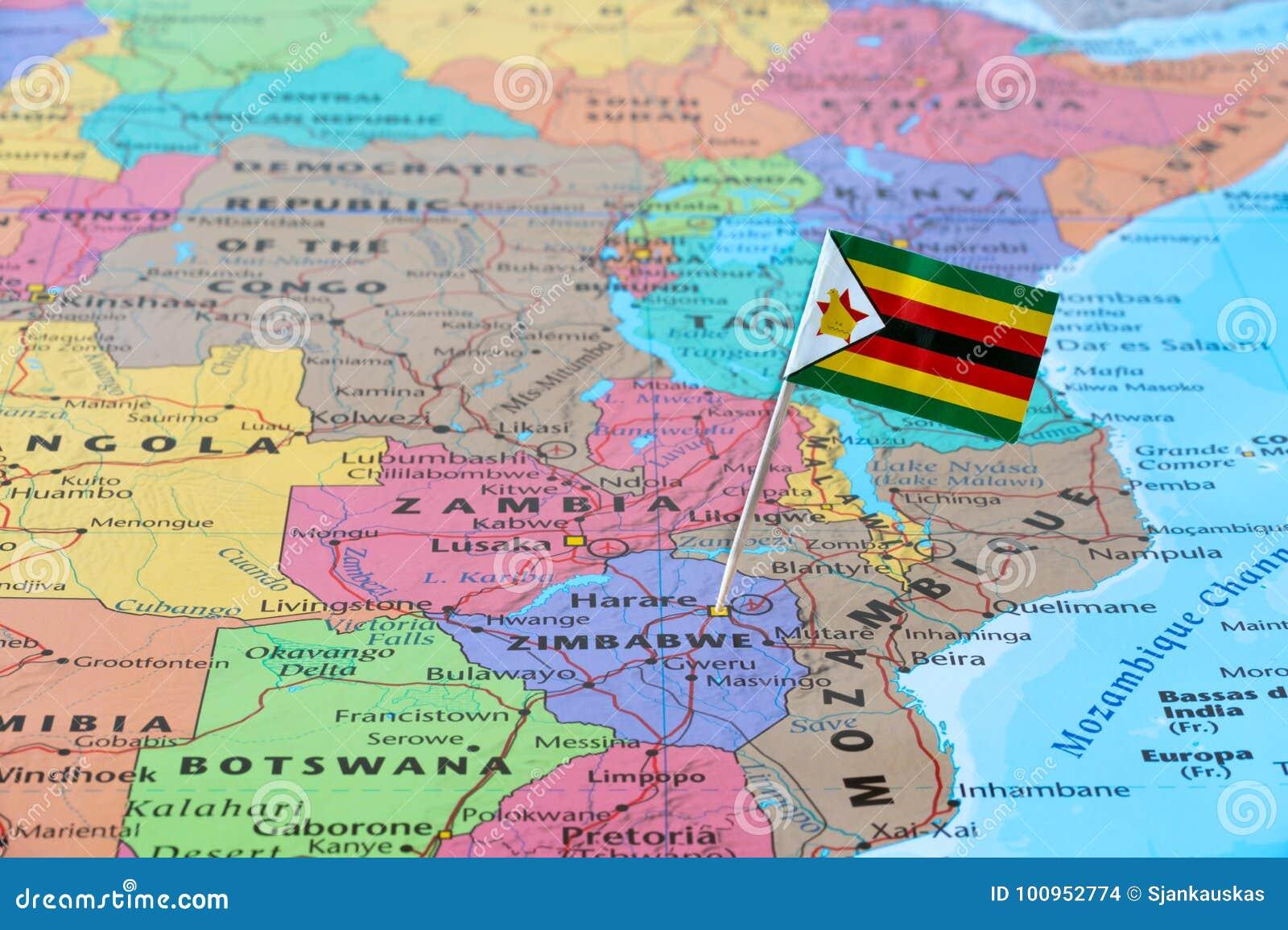 Zimbabwe map and flag pin stock photo image of located 100952774 zimbabwe map and flag pin gumiabroncs Choice Image