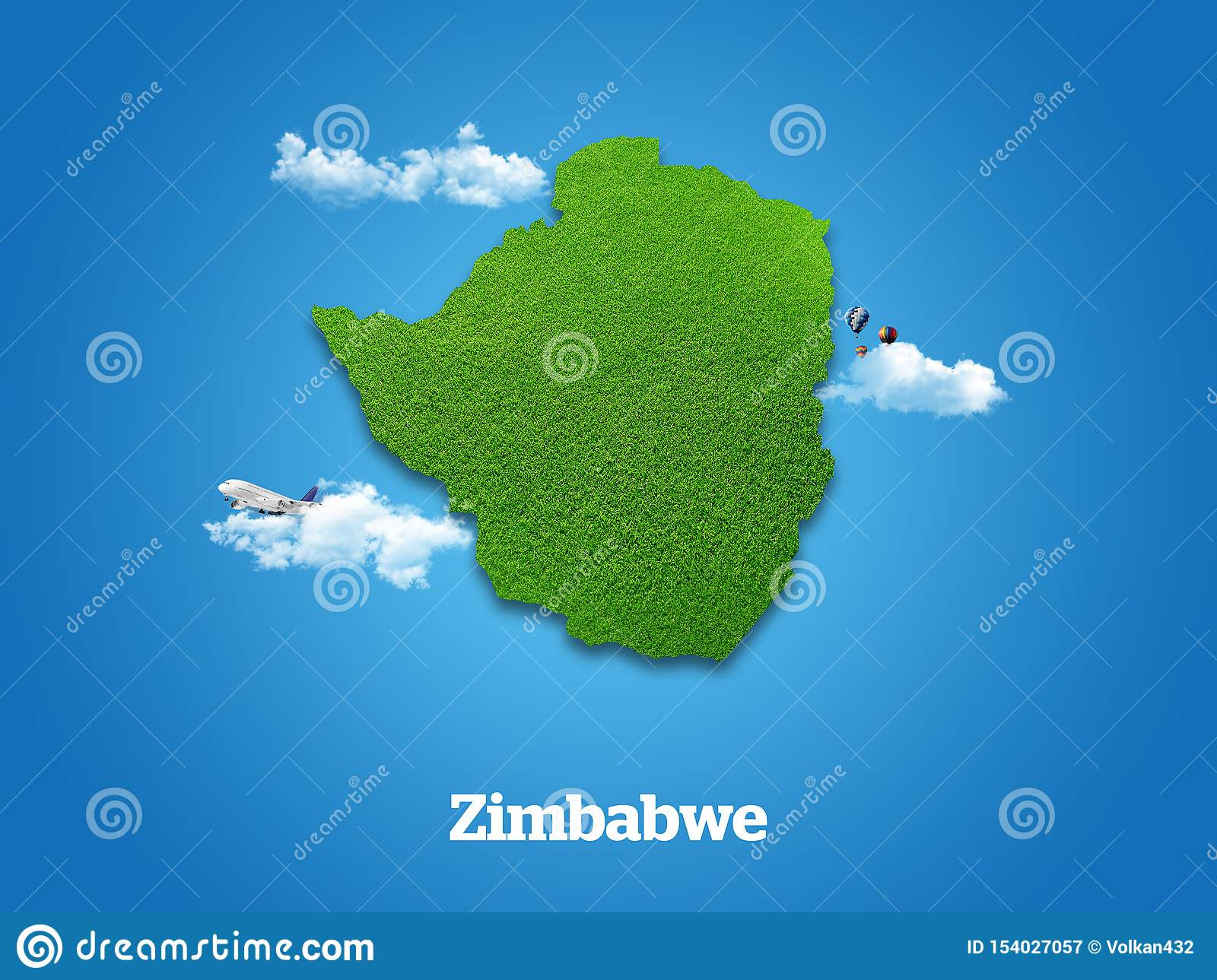 Zimbabwe Map. Green grass, sky and cloudy concept.