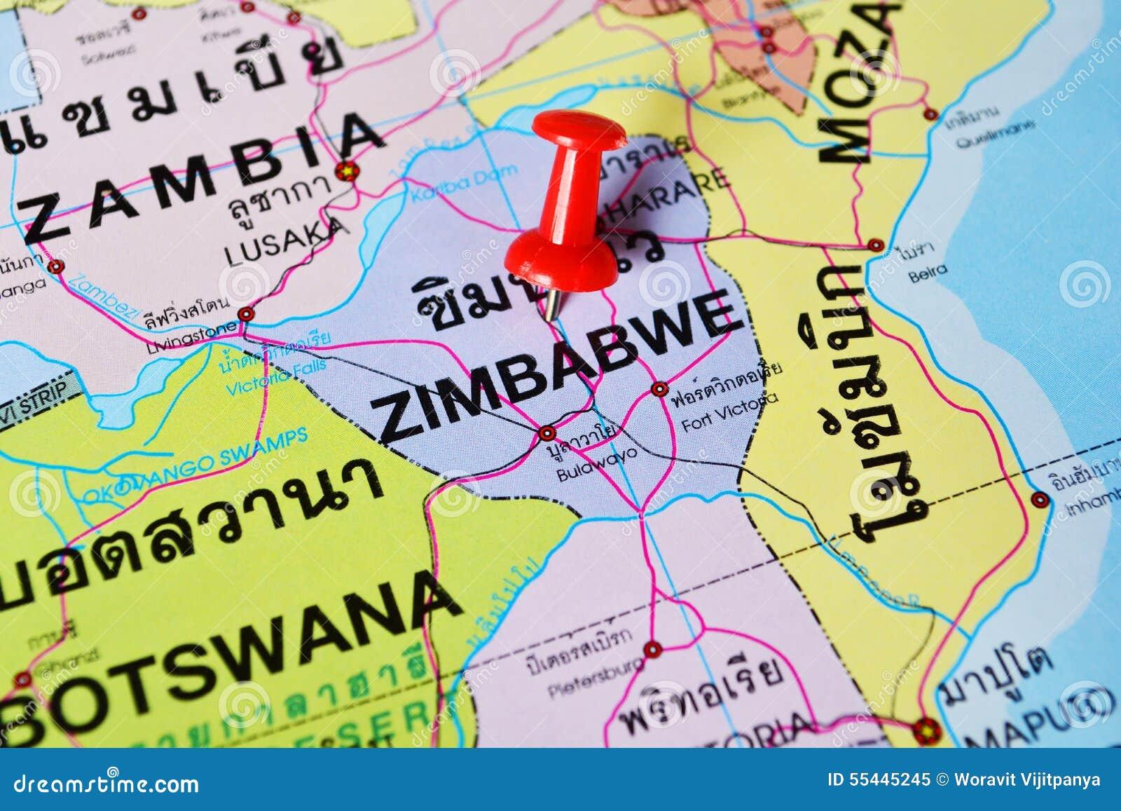 Zimbabwe map stock image. Image of journey, paper, road - 55445245