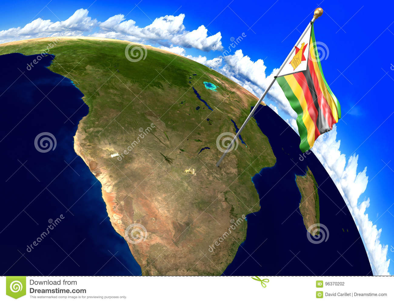 Zimbabwe National Flag Marking The Country Location On World Map ...