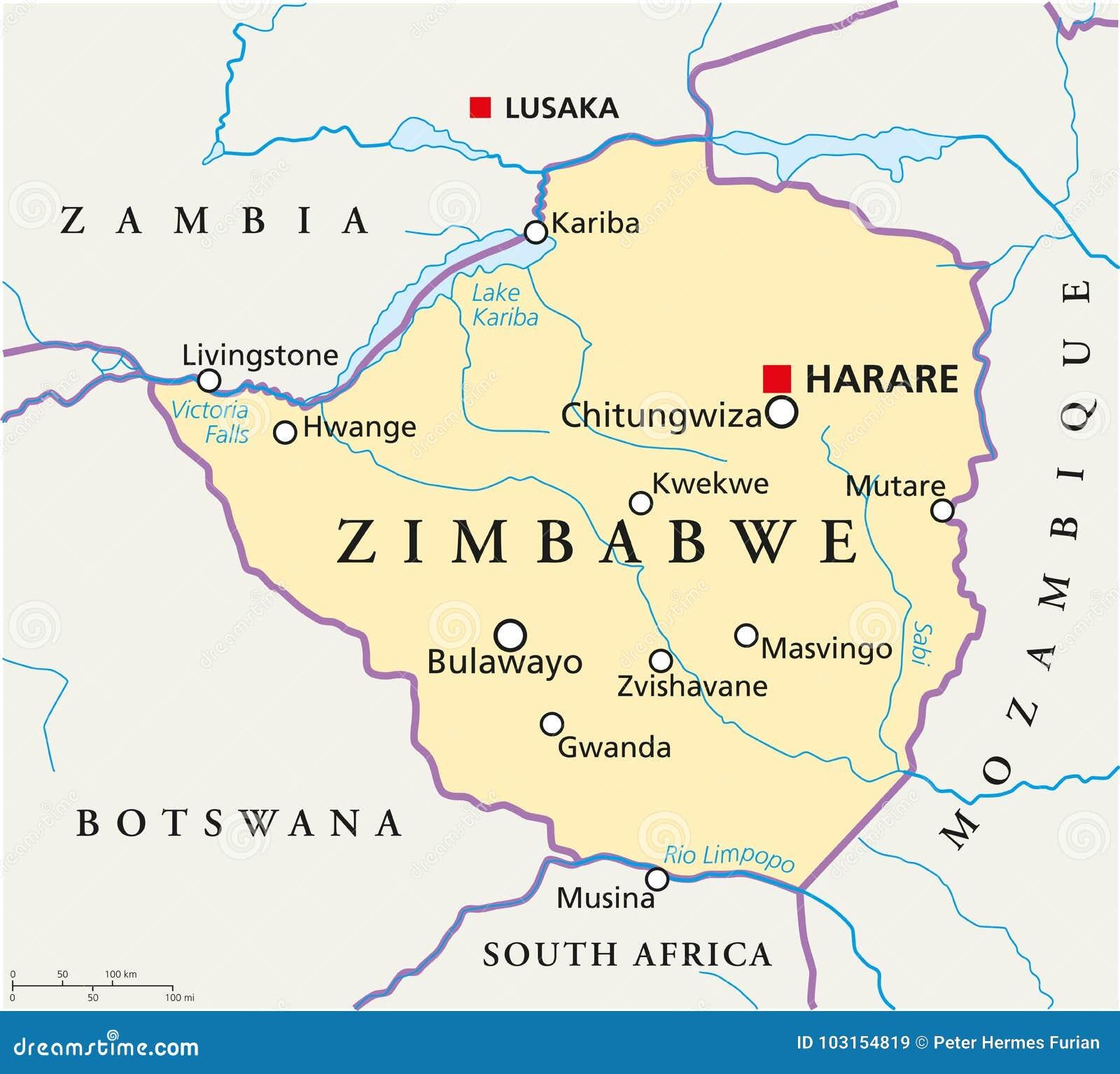 Zimbabwe Political Map stock vector. Illustration of mutare - 103154819