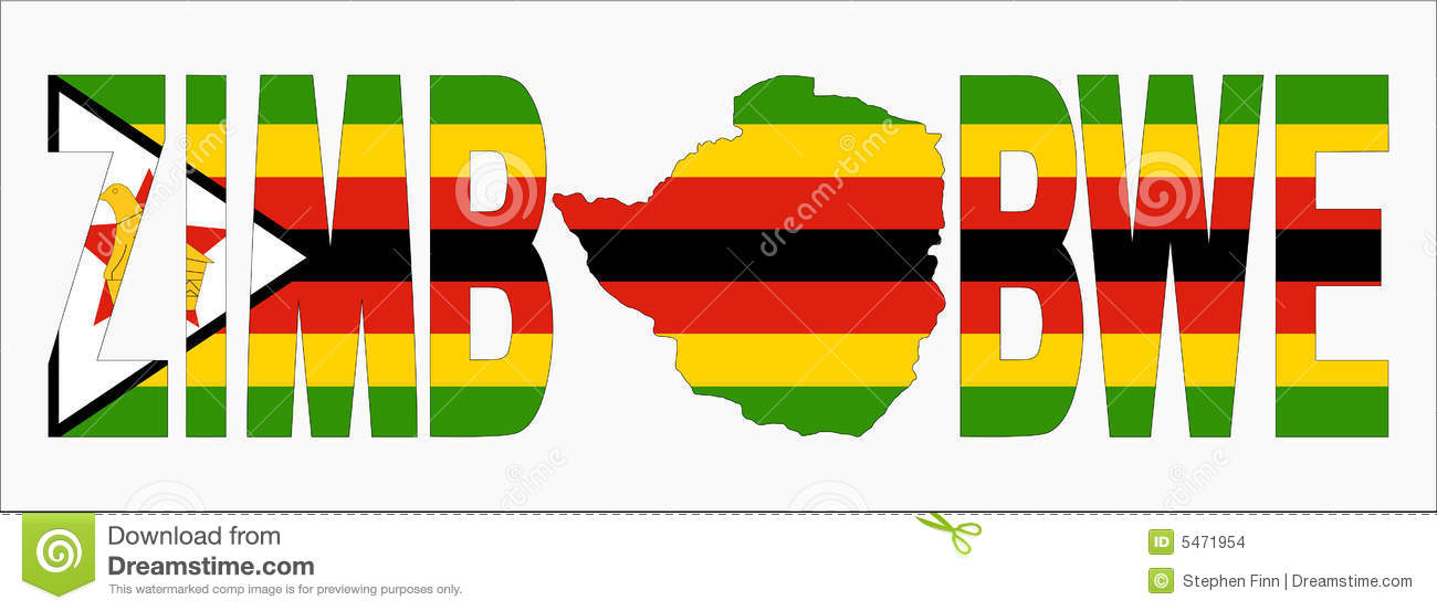 Zimbabwe Text With Map Stock Images - Image: 5471954