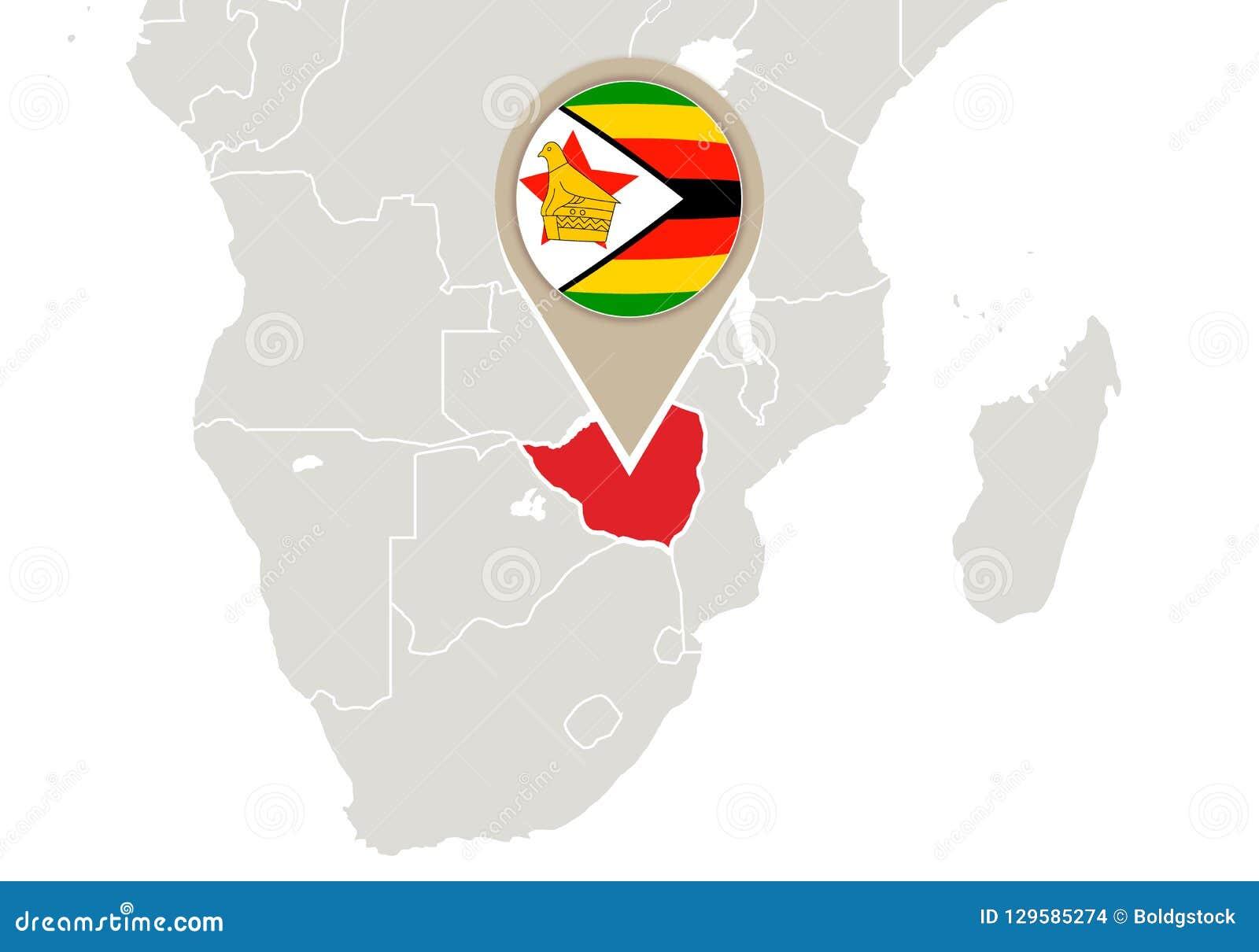 Zimbabwe on World map stock vector. Illustration of flag - 129585274