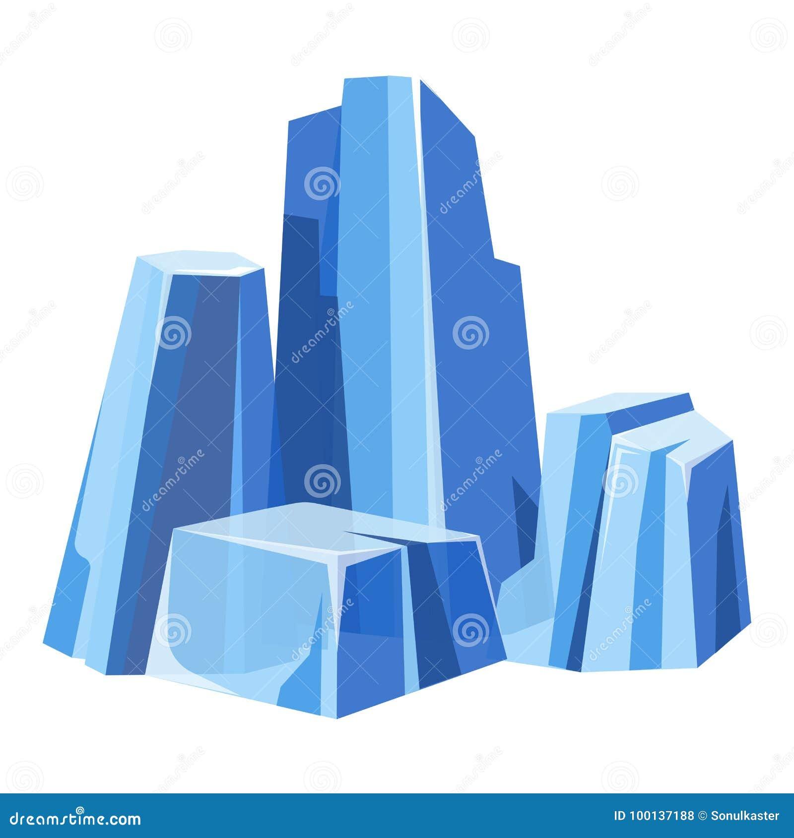 Zimni masywni przejrzyści glaces z błękitnym odcieniem odizolowywali ilustrację