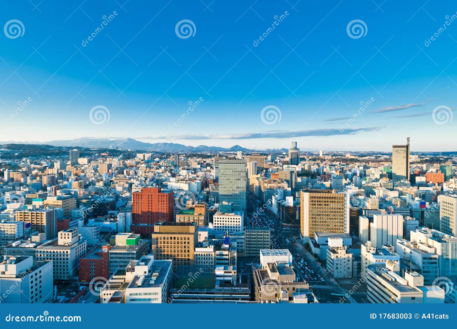 Zimny dzień Japan Sendai pogodny