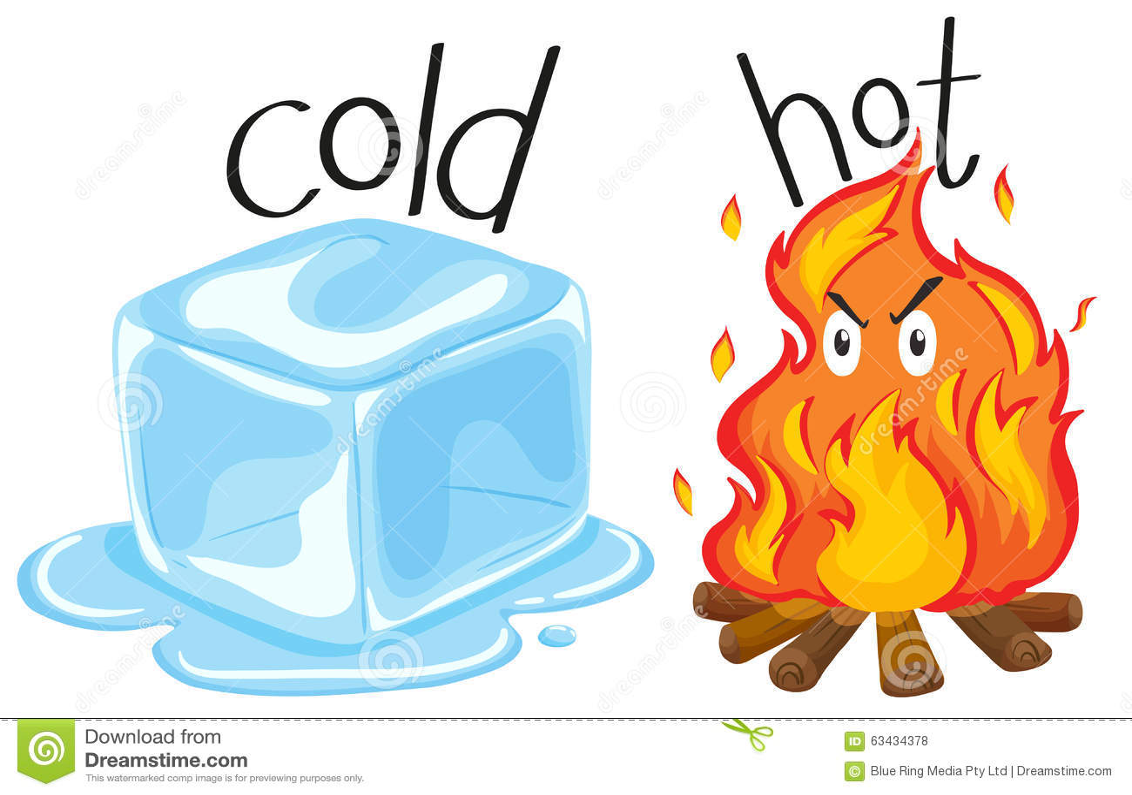 Zimny icecube i gorący ogień