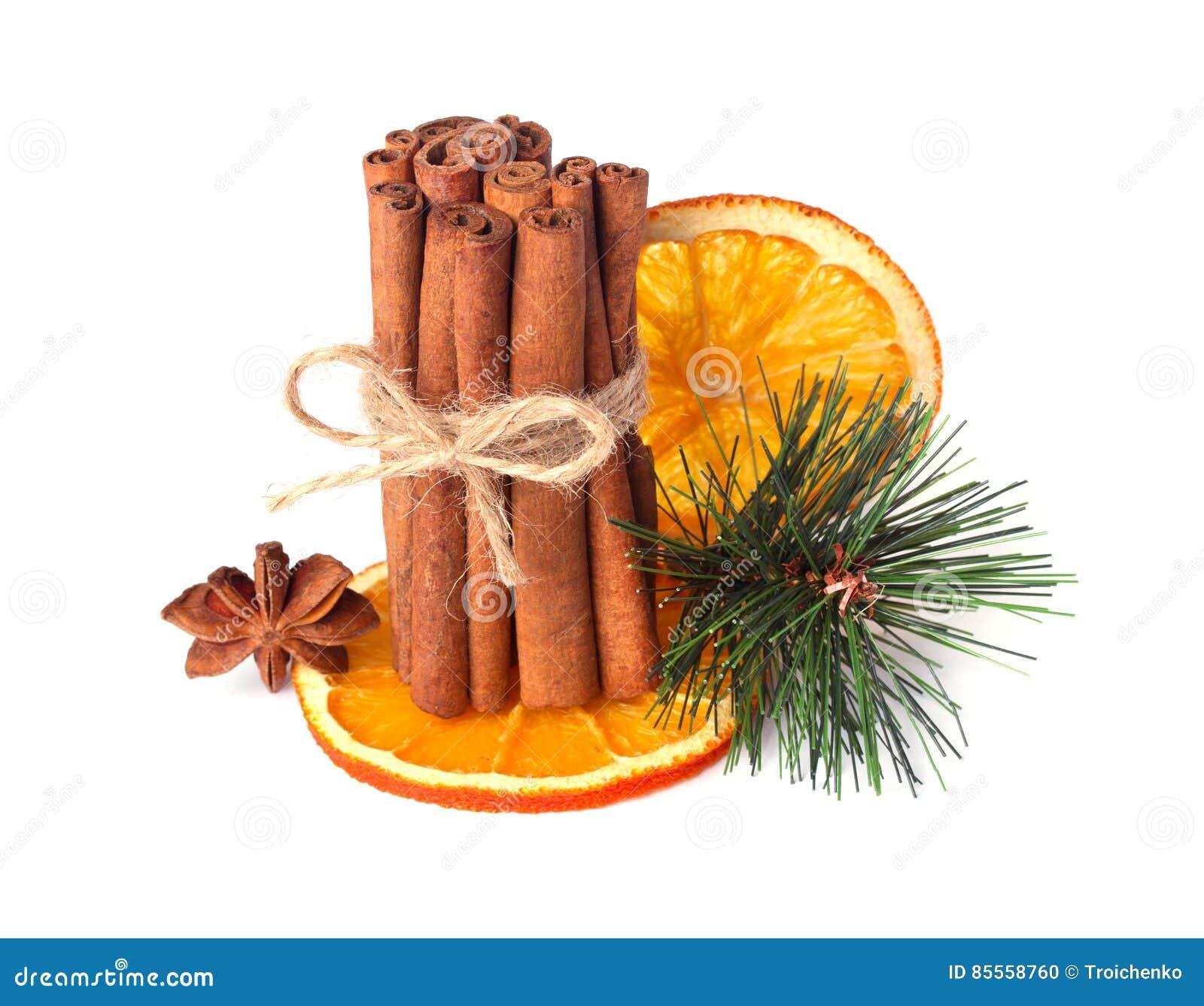 Zimtstangen, Sternanis, Nelken und getrocknete Orange mit den künstlichen gezierten Zweigen lokalisiert auf Weiß