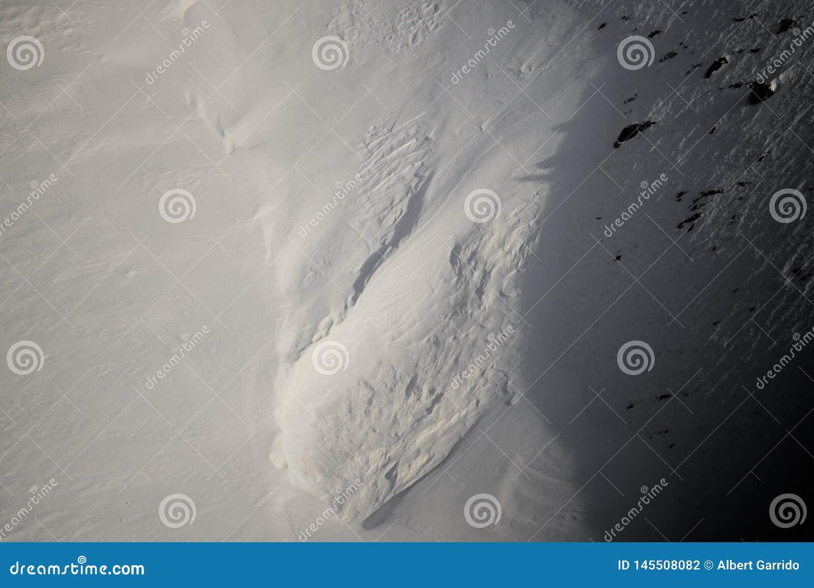 Zimy śnieżna tekstura zamknięta w górę ciężkiego światła