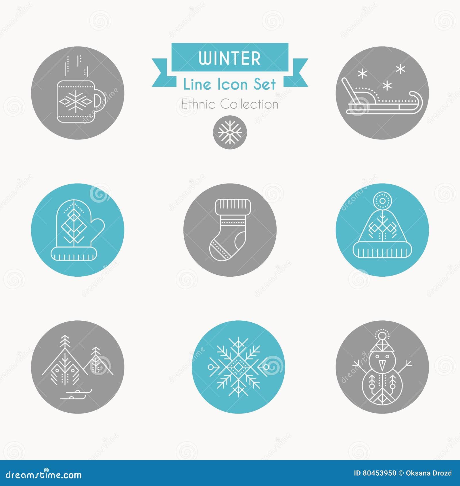Zimy ikony set Kolekcja kreatywnie kreskowego stylu projekta elementy