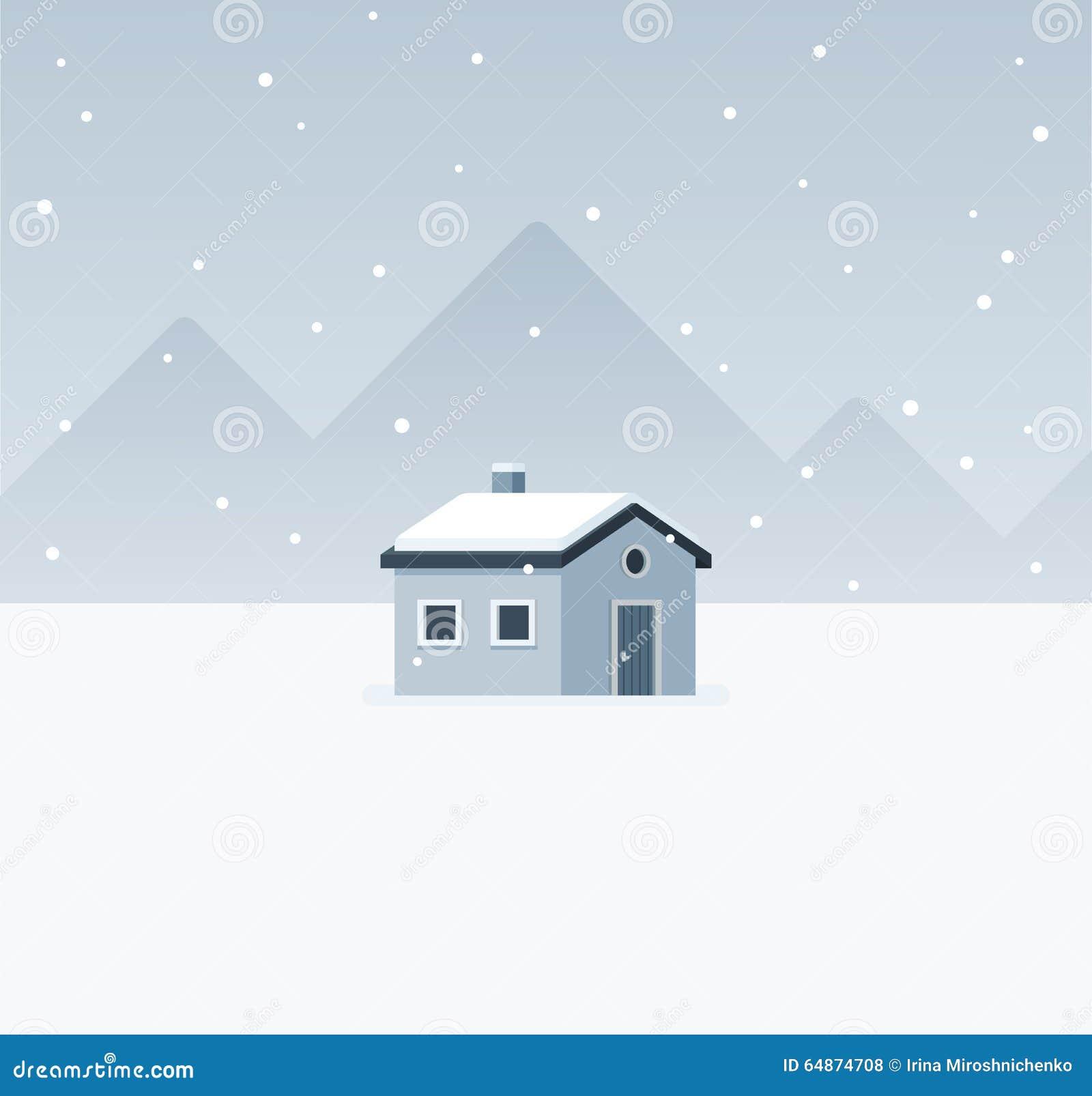 Zimy kabiny krajobraz