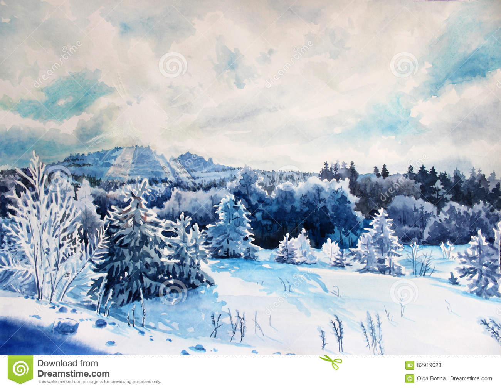 Zimy krajobrazowa akwarela