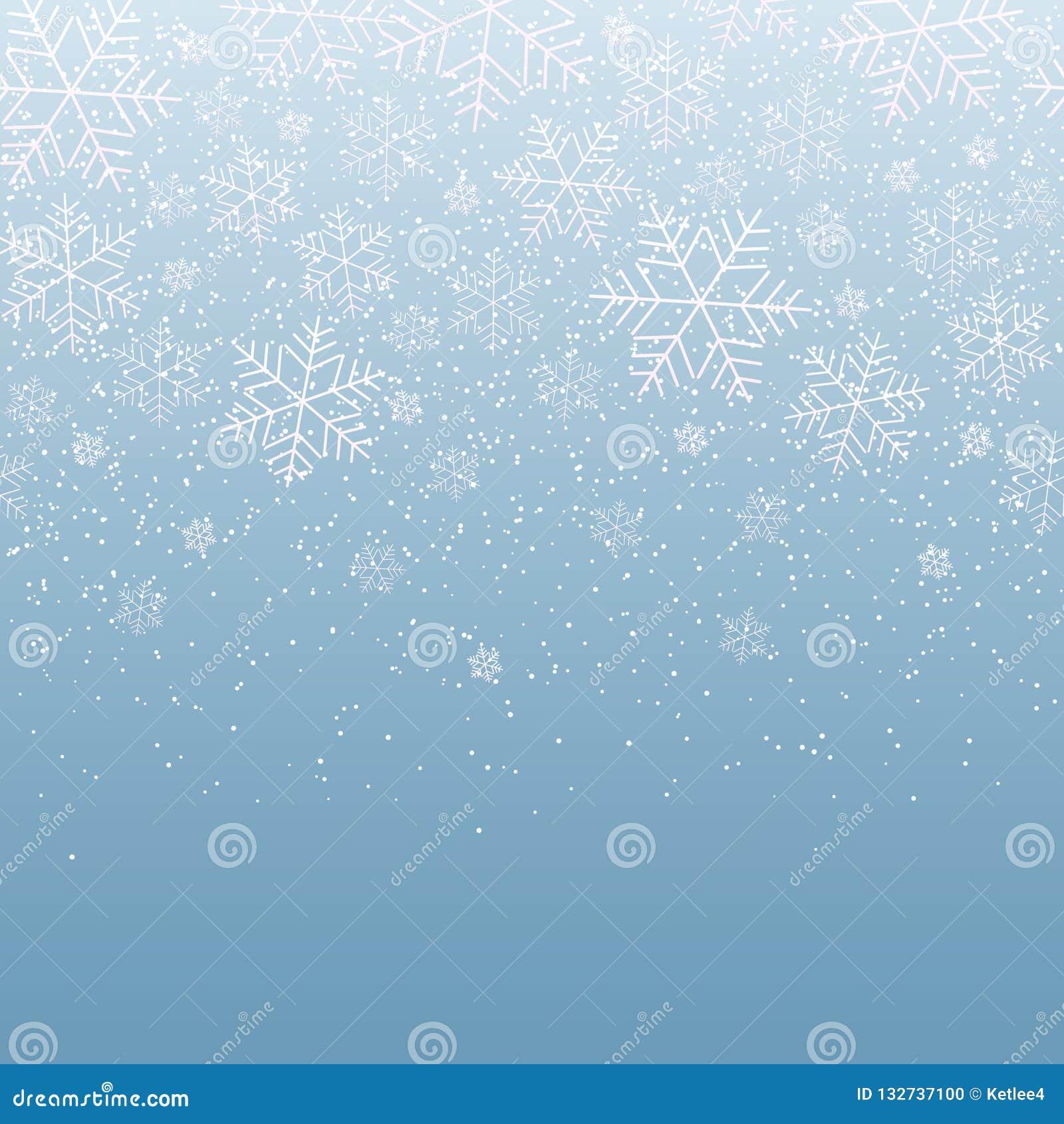 Zimy lekki świąteczny tło z spada płatek śniegu dla bożych narodzeń i nowego roku śniegu Dekoracyjny wzór dla pocztówkowego zapro