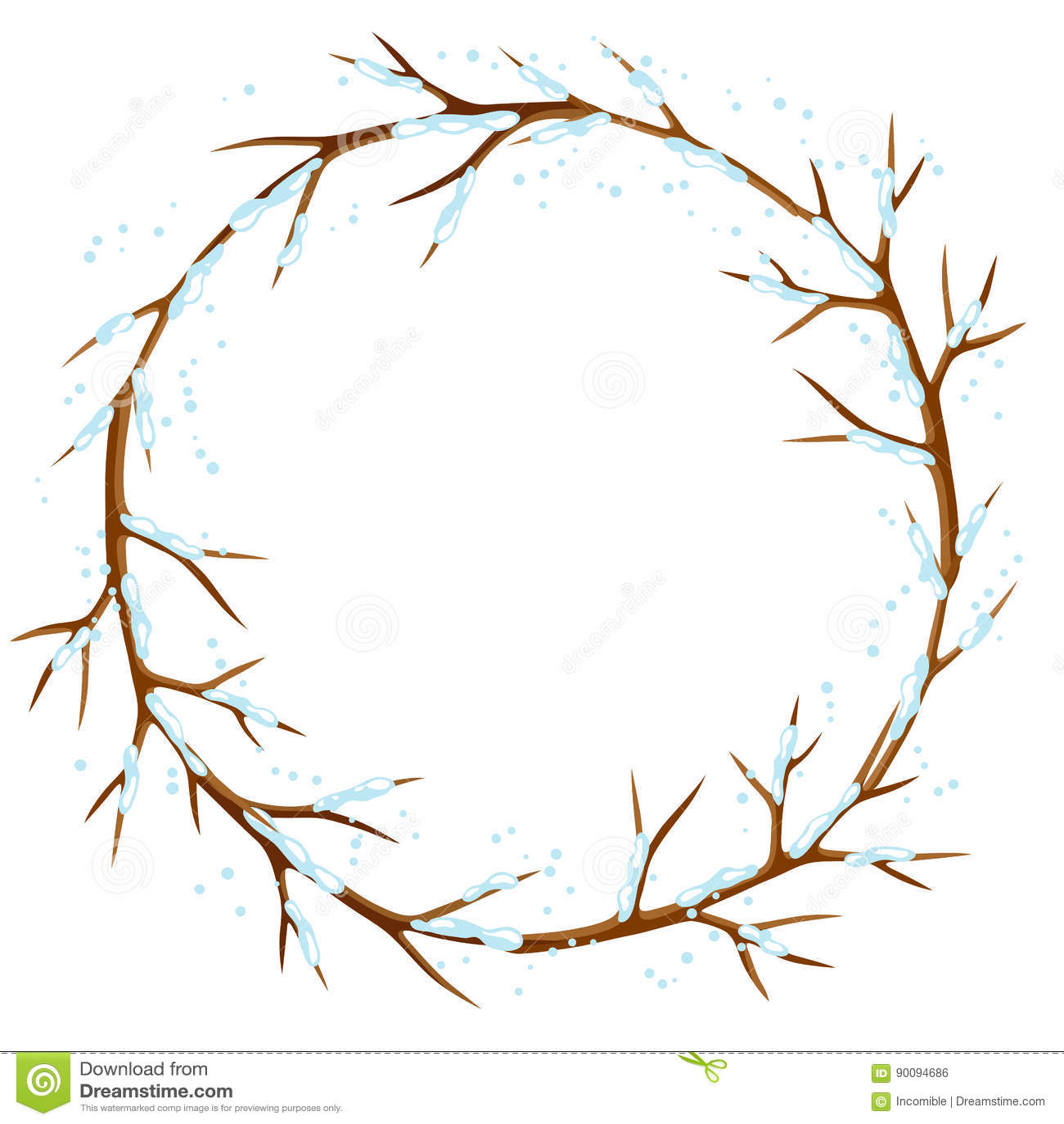 Zimy rama z gałąź drzewo i śnieg Sezonowa ilustracja