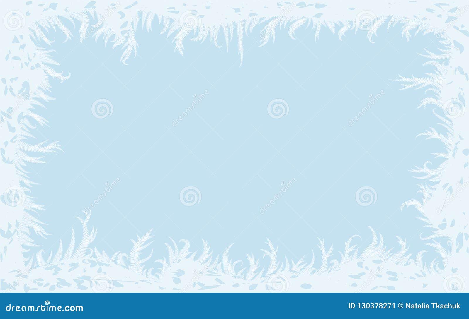 Zimy rama z oszroniejącym szkłem, wektorowa ilustracja