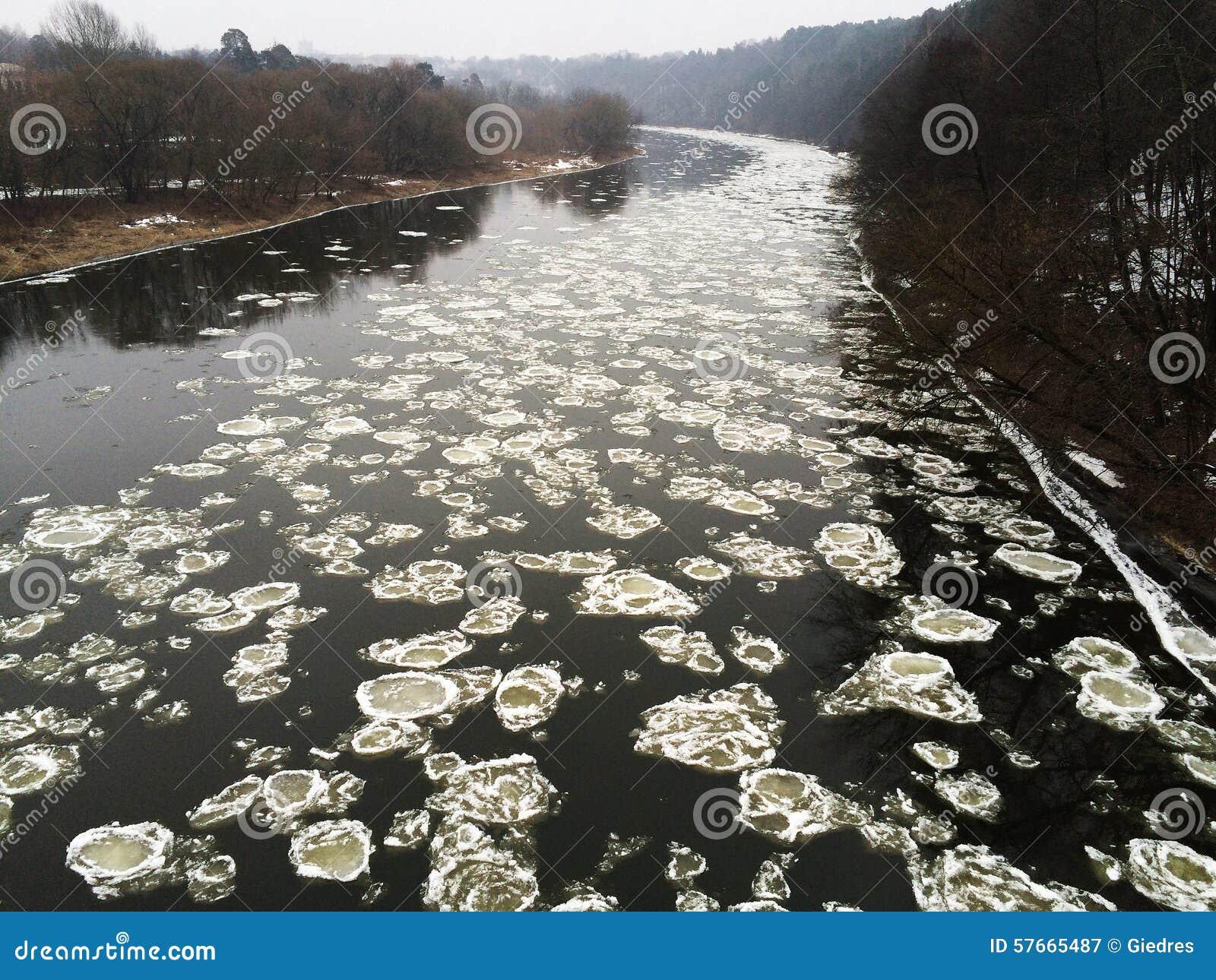 Zimy rzeka z spławowymi lodowymi floes
