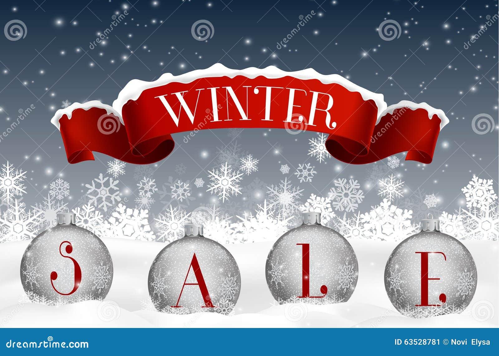Zimy sprzedaży tło z czerwonym realistycznym tasiemkowym sztandarem i piłkami