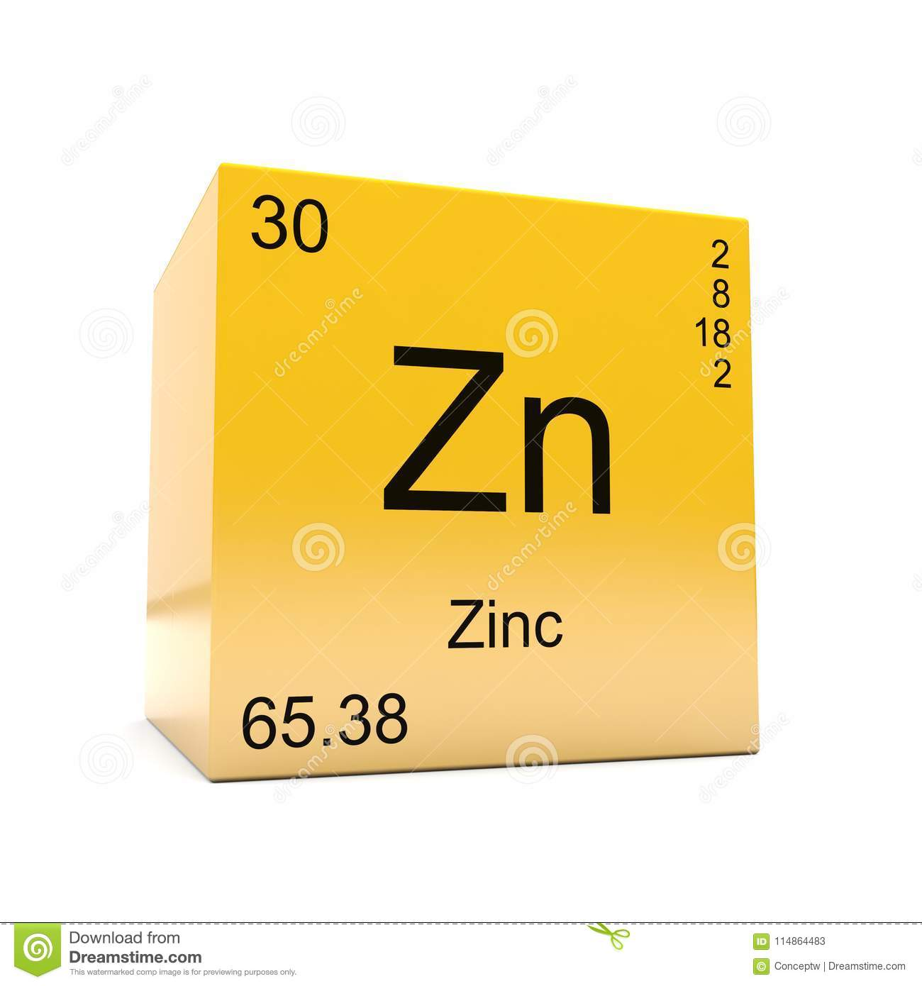 Zinc Chemical Element Symbol From Periodic Table Stock Illustration
